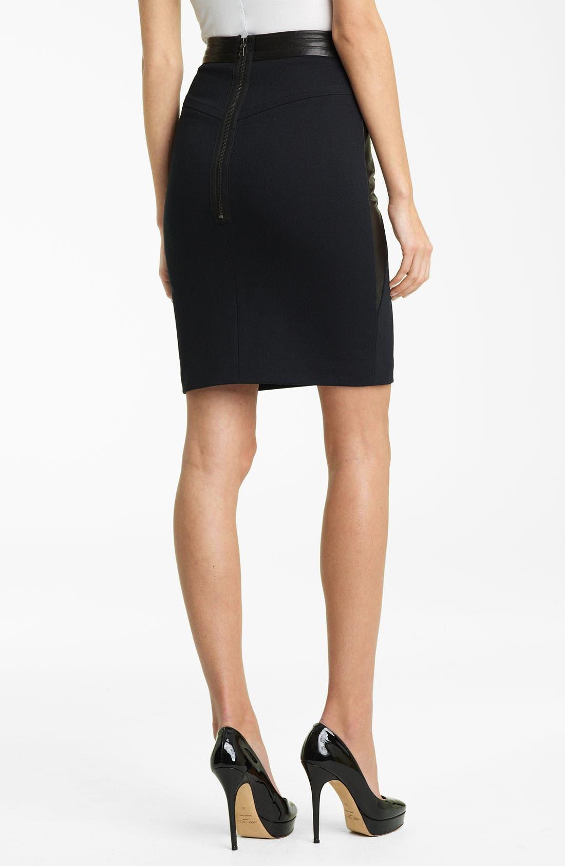 Alternate Image 2  - Yigal Azrouël Leather Panel Ponte Skirt