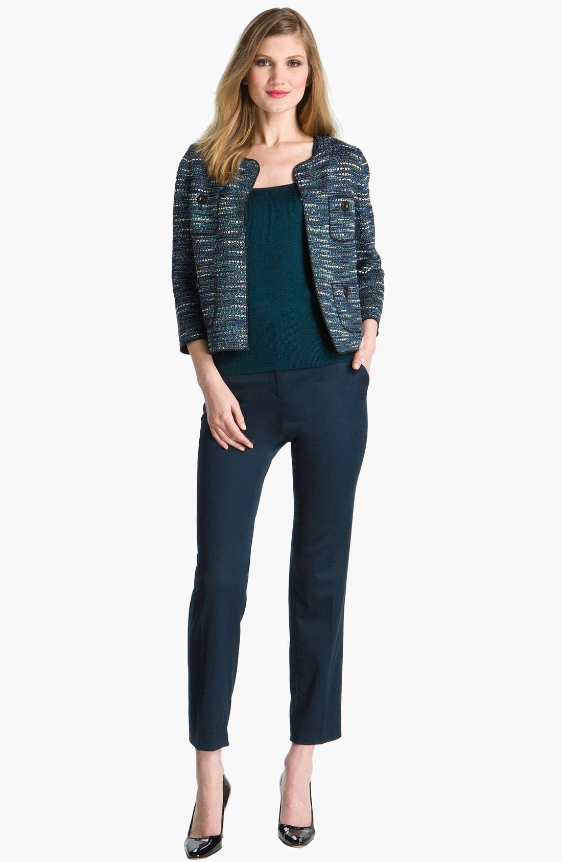 Main Image - St. John Collection Stretch Venetian Wool Crop Pants
