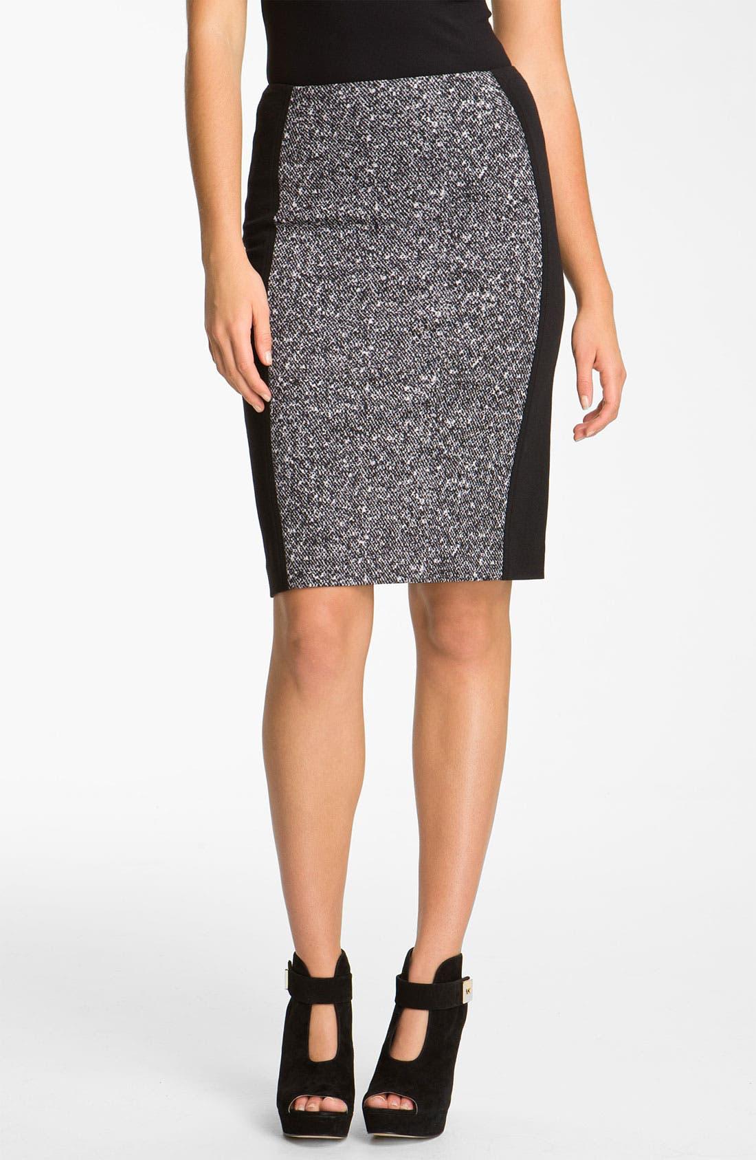 Main Image - MICHAEL Michael Kors Print Panel Ponte Skirt