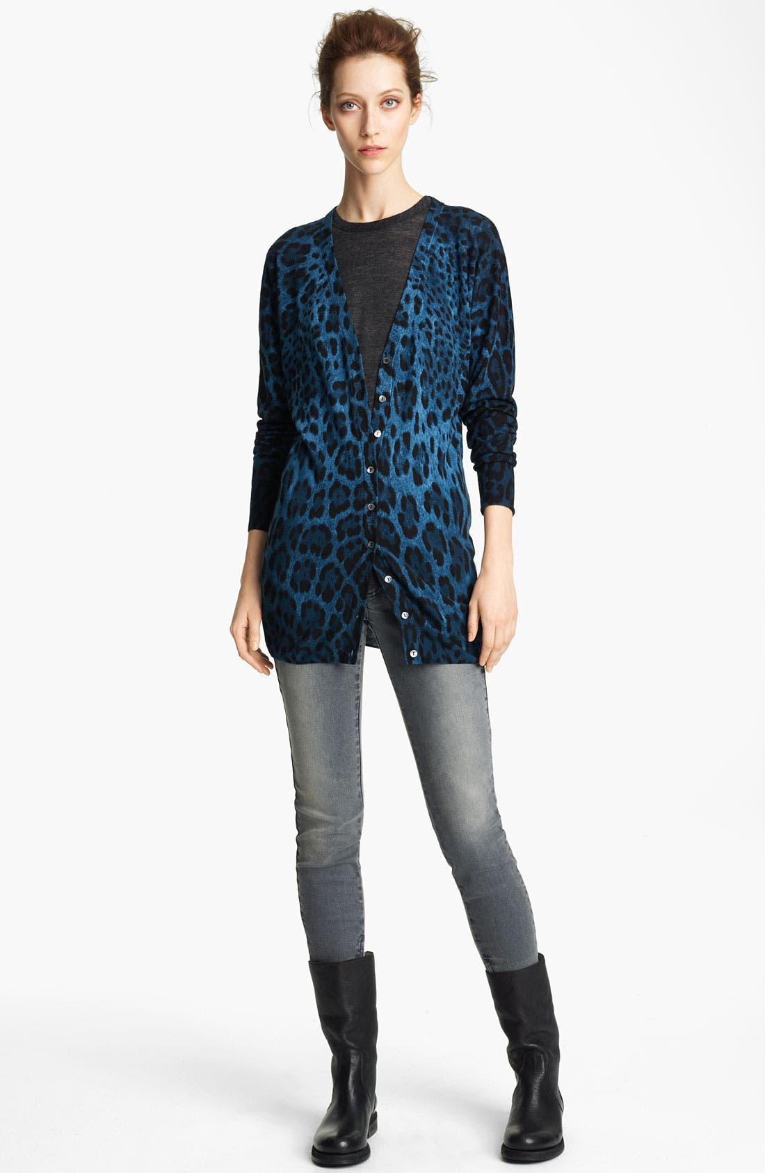 Alternate Image 1 Selected - Dolce&Gabbana Long Leopard Print Cardigan