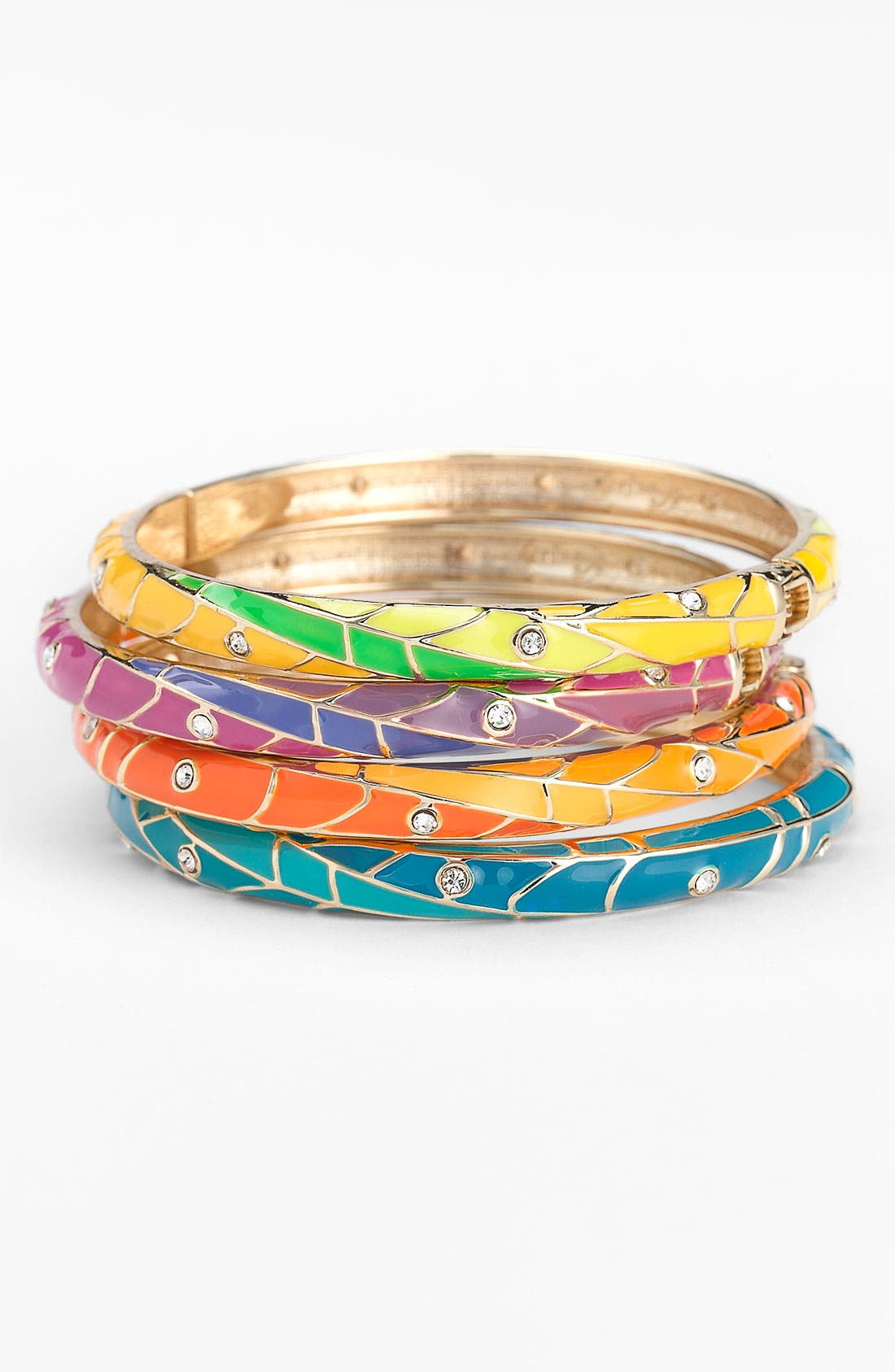 Main Image - Sequin Small Multicolor Enamel Hinged Bangle