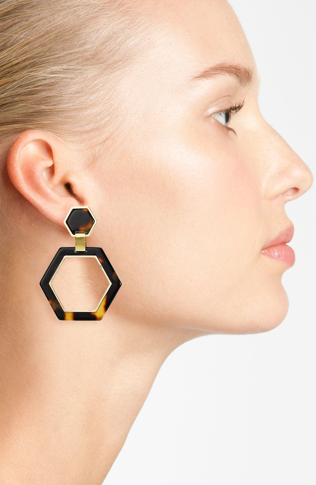 Alternate Image 2  - Tory Burch Hexagon Link Clip Earrings