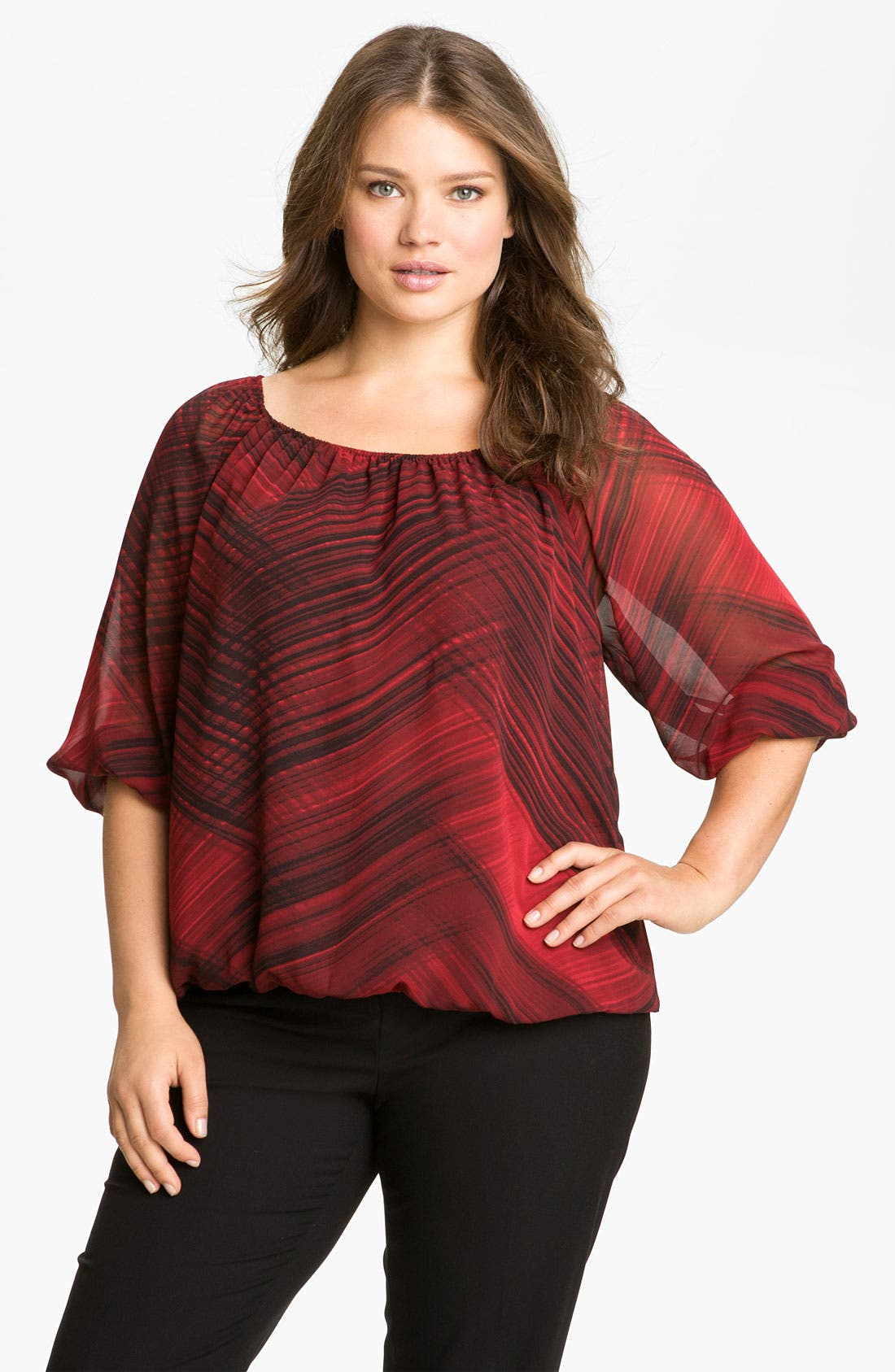 Main Image - Vince Camuto 'Brushstrokes' Peasant Blouse (Plus)