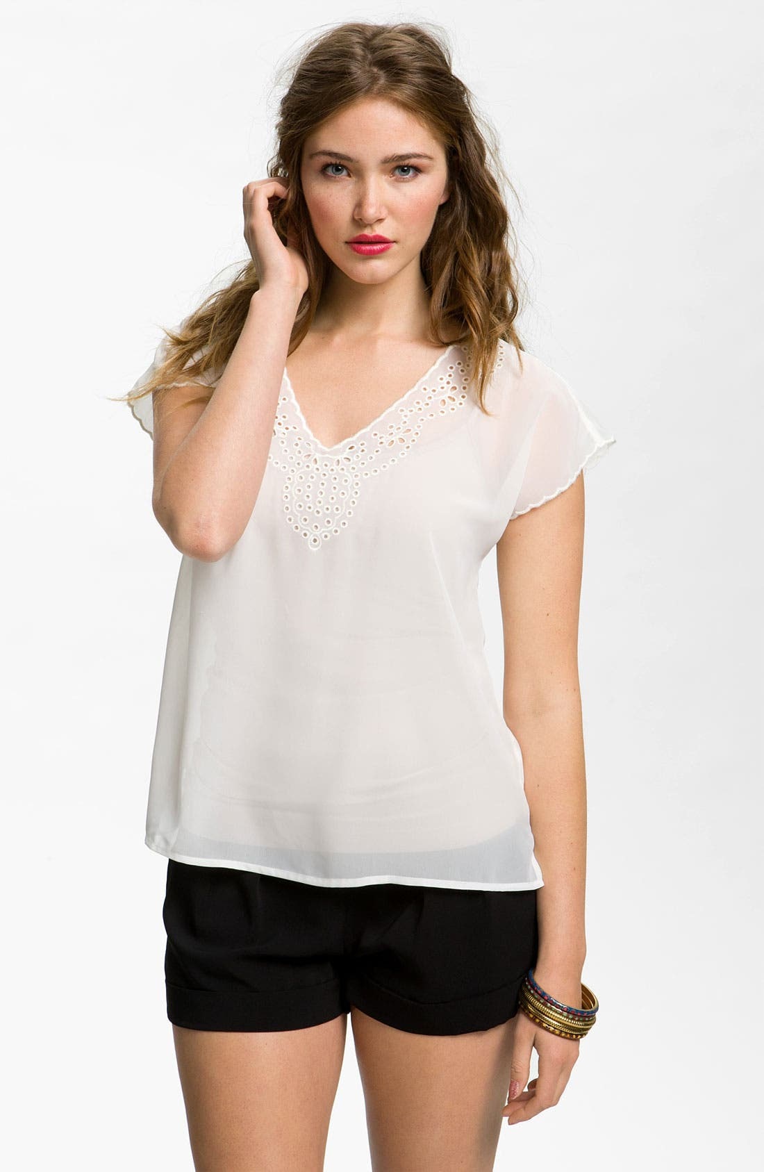 Alternate Image 1 Selected - Frenchi® Eyelet Top (Juniors)