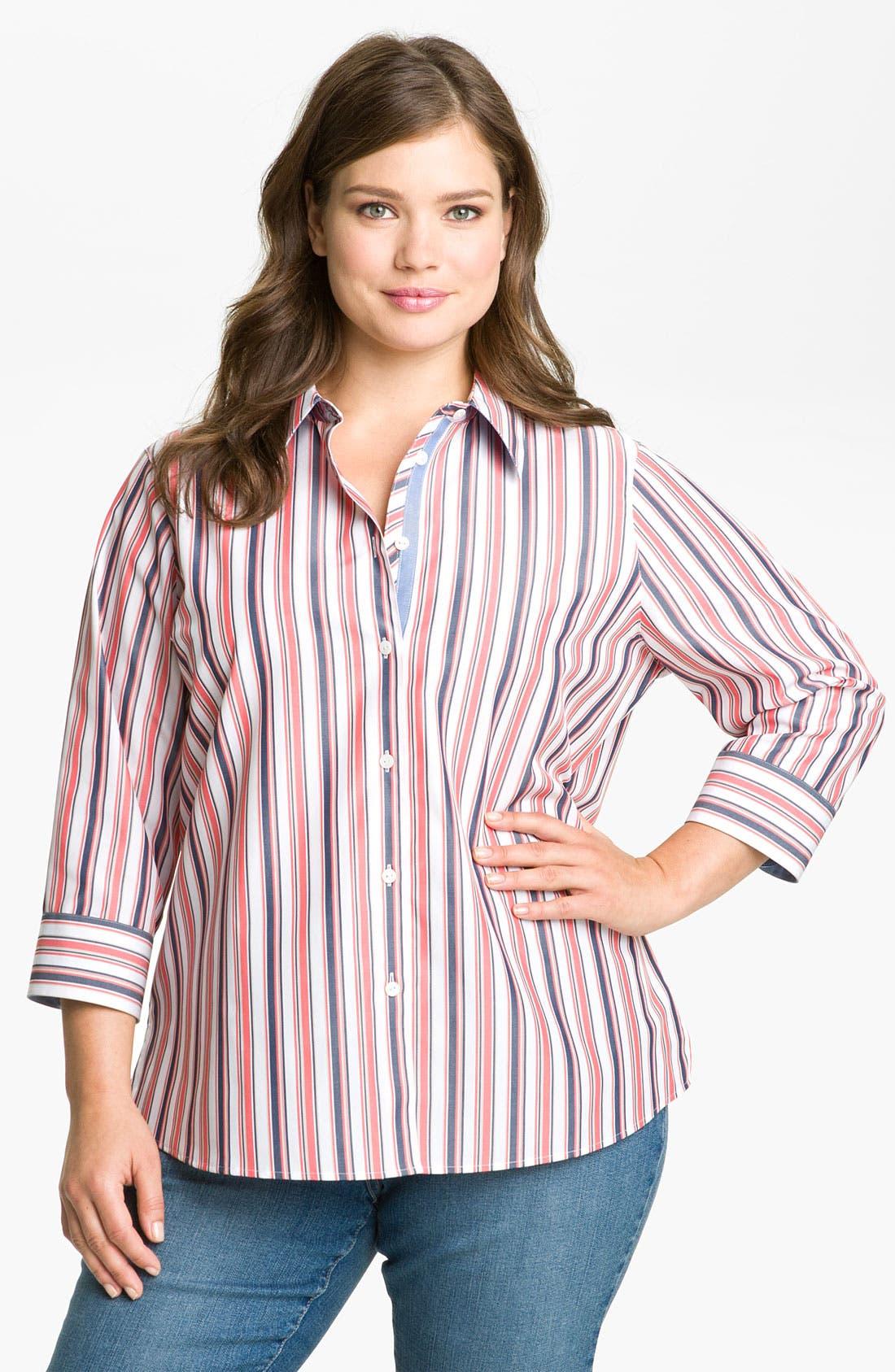Alternate Image 1 Selected - Foxcroft 'Summer Stripe' Blouse (Plus)