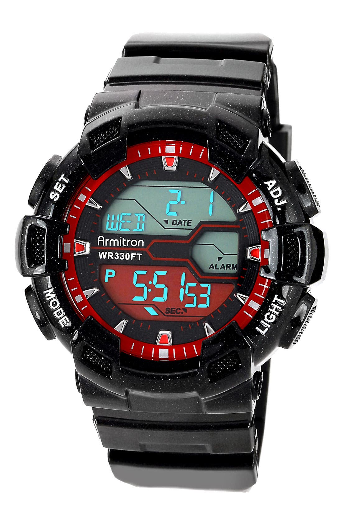Alternate Image 1 Selected - Armitron Round Digital Resin Watch, 53mm