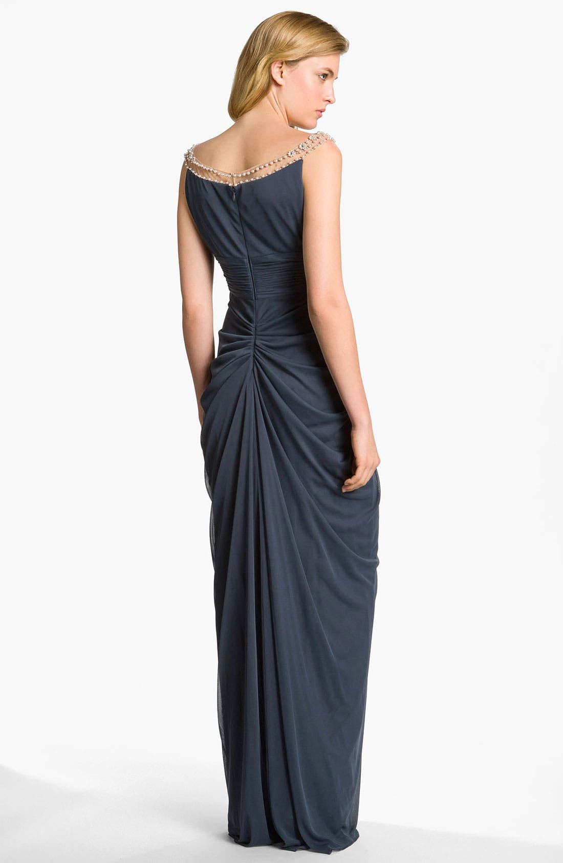 Alternate Image 2  - Adrianna Papell Embellished Draped Mesh Gown