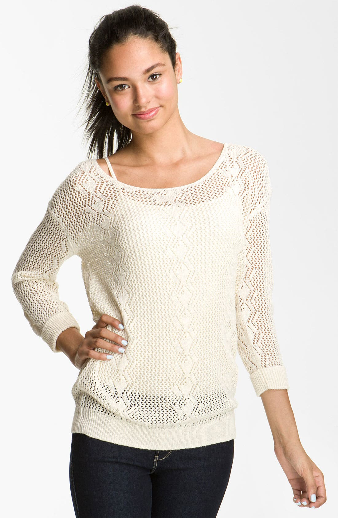 Alternate Image 1 Selected - Rubbish® Pointelle Pullover Sweater (Juniors)
