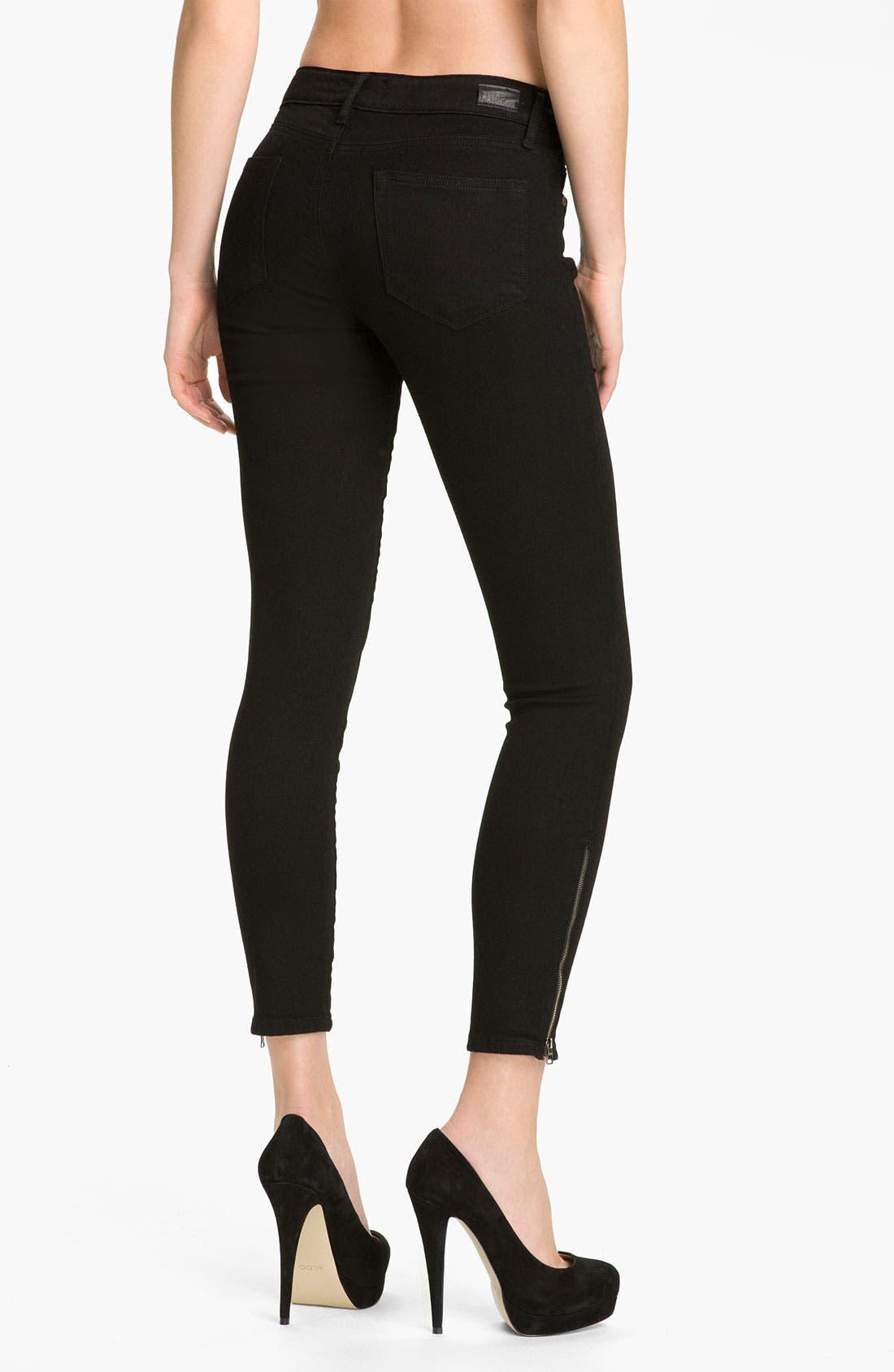 Alternate Image 2  - Paige Denim 'Verdugo' Ankle Zip Skinny Stretch Jeans (Black Ink)
