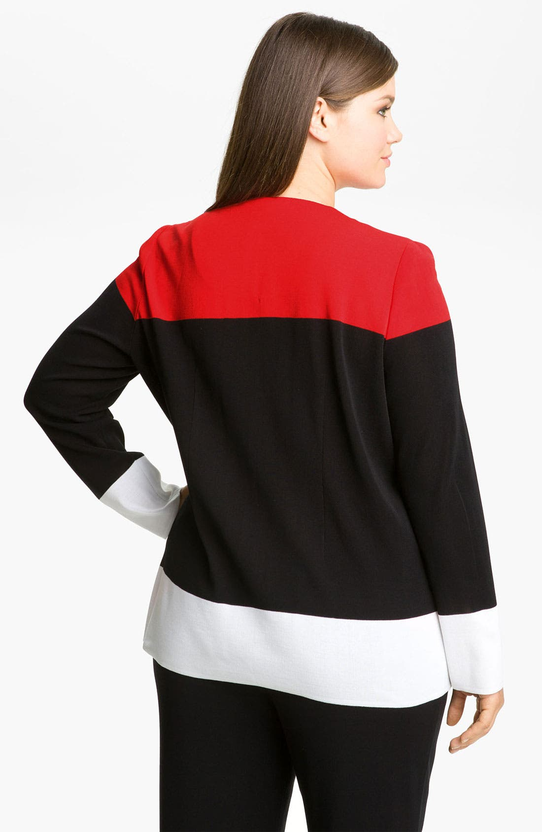 Alternate Image 2  - Exclusively Misook Colorblock Knit Jacket (Plus)