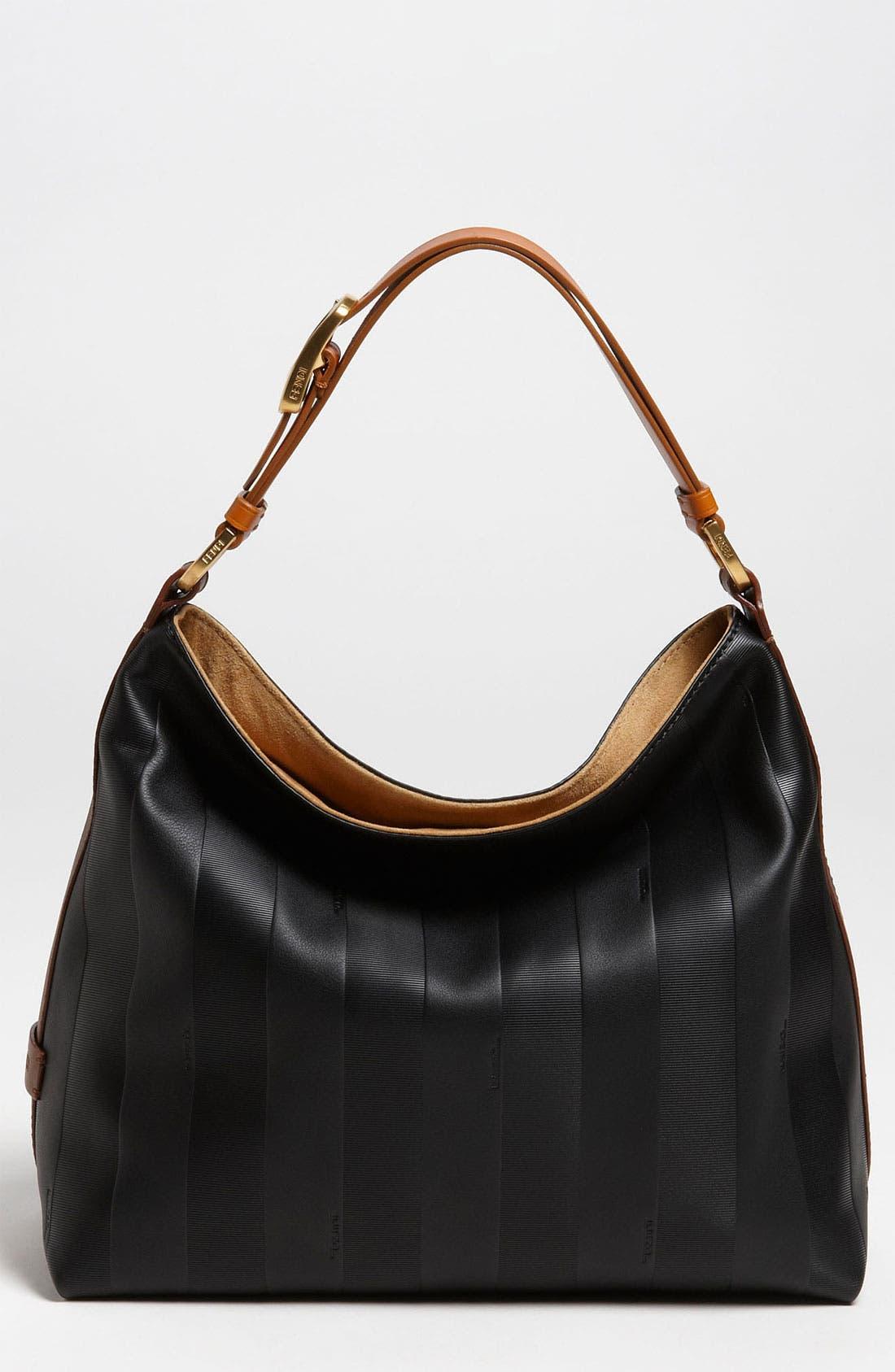 Main Image - Fendi 'Paris Pequin - Small' Leather Hobo