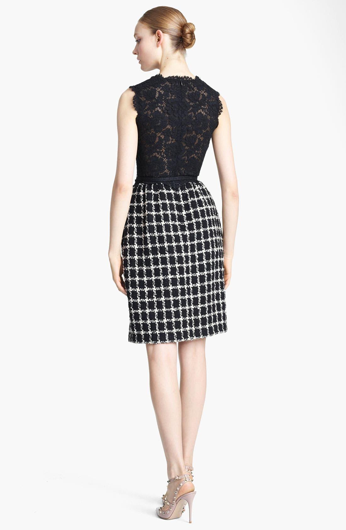Alternate Image 2  - Valentino Belted Lace & Tweed Dress