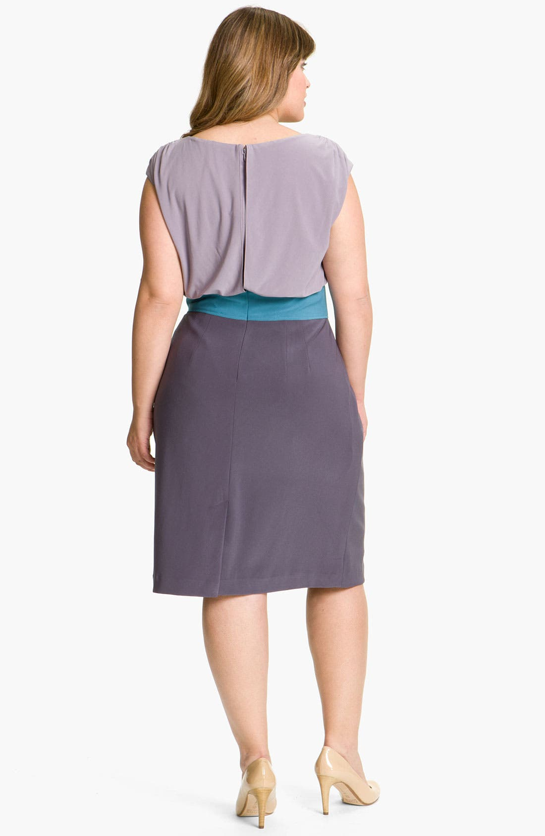 Alternate Image 2  - Adrianna Papell Colorblock Blouson Sheath Dress (Plus)