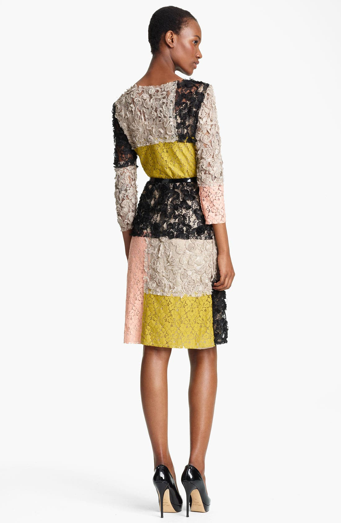 Alternate Image 2  - Moschino Cheap & Chic Belted Colorblock Lace Dress