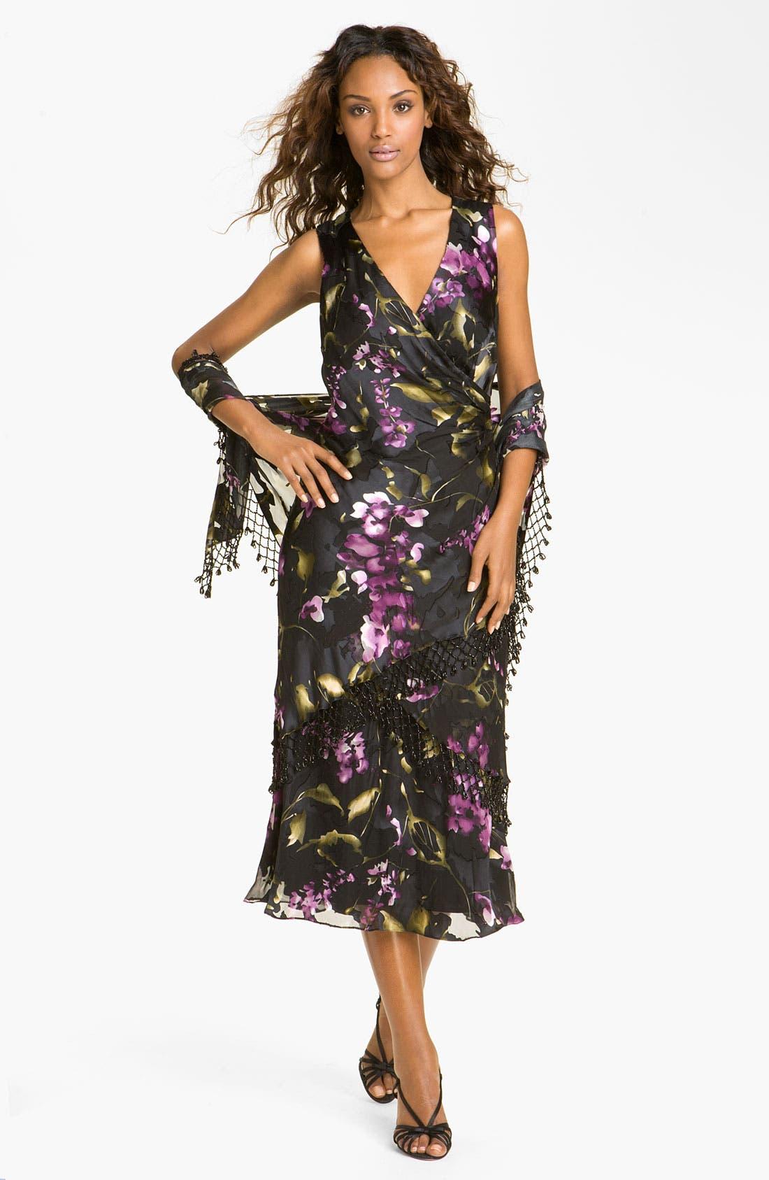 Main Image - Alex Evenings Floral Print Mixed Media Dress & Fringed Shawl