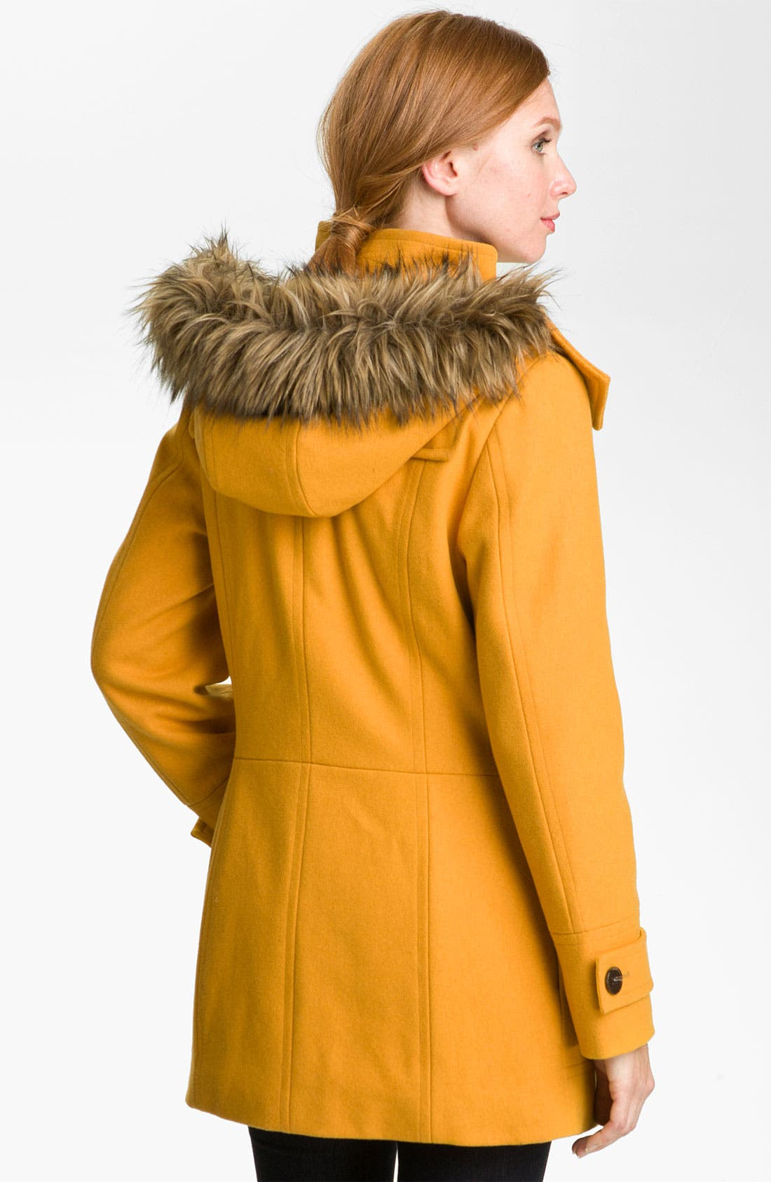 Alternate Image 2  - Calvin Klein Faux Fur Trim Duffle Coat
