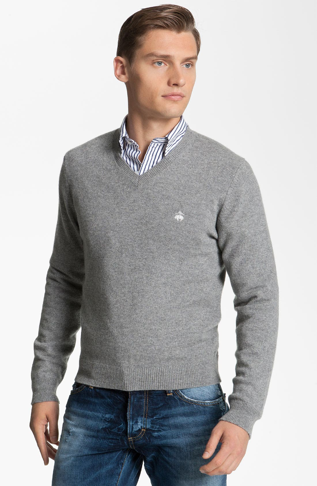 Main Image - Brooks Brothers by Jeffrey V-Neck Cashmere Sweater