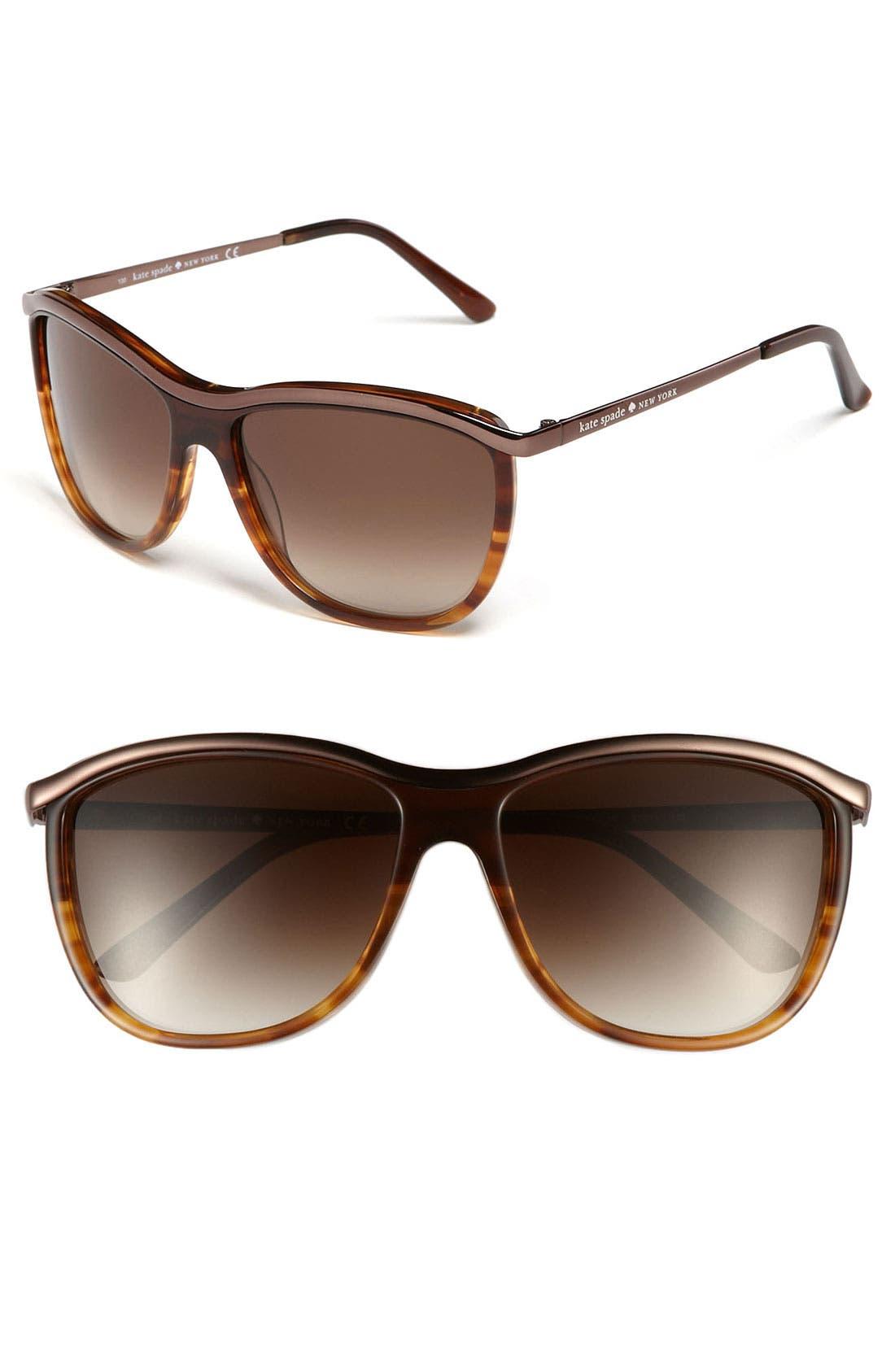 Main Image - kate spade new york 'domina' 57mm retro sunglasses