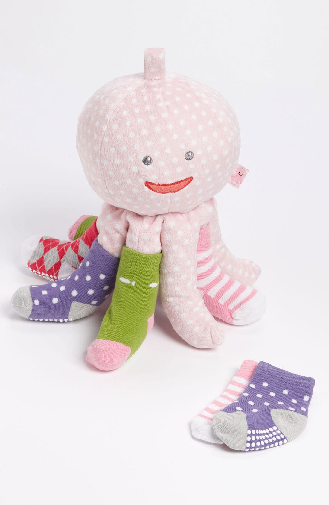 Alternate Image 1 Selected - Baby Aspen 'Mrs. Sock T. Pus' Stuffed Animal & Socks (4-Pack) (Infant)