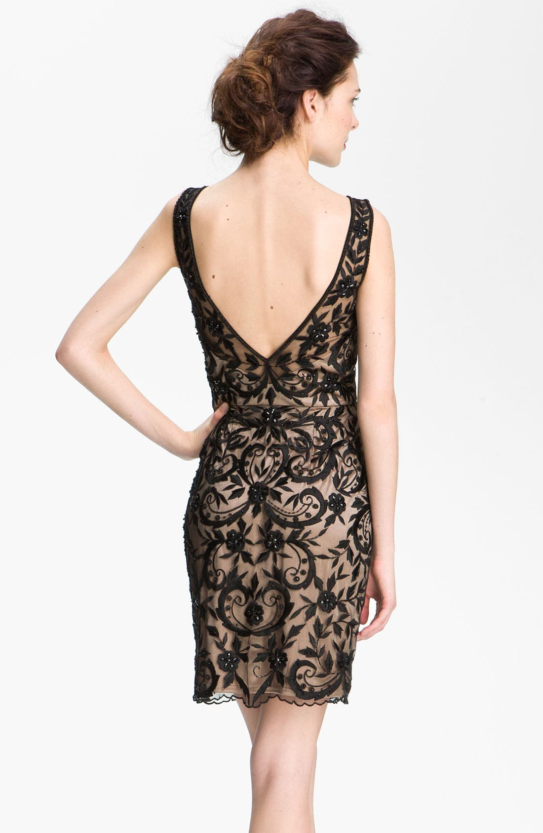 Alternate Image 2  - Sue Wong Embroidered Overlay V-Back Sheath Dress