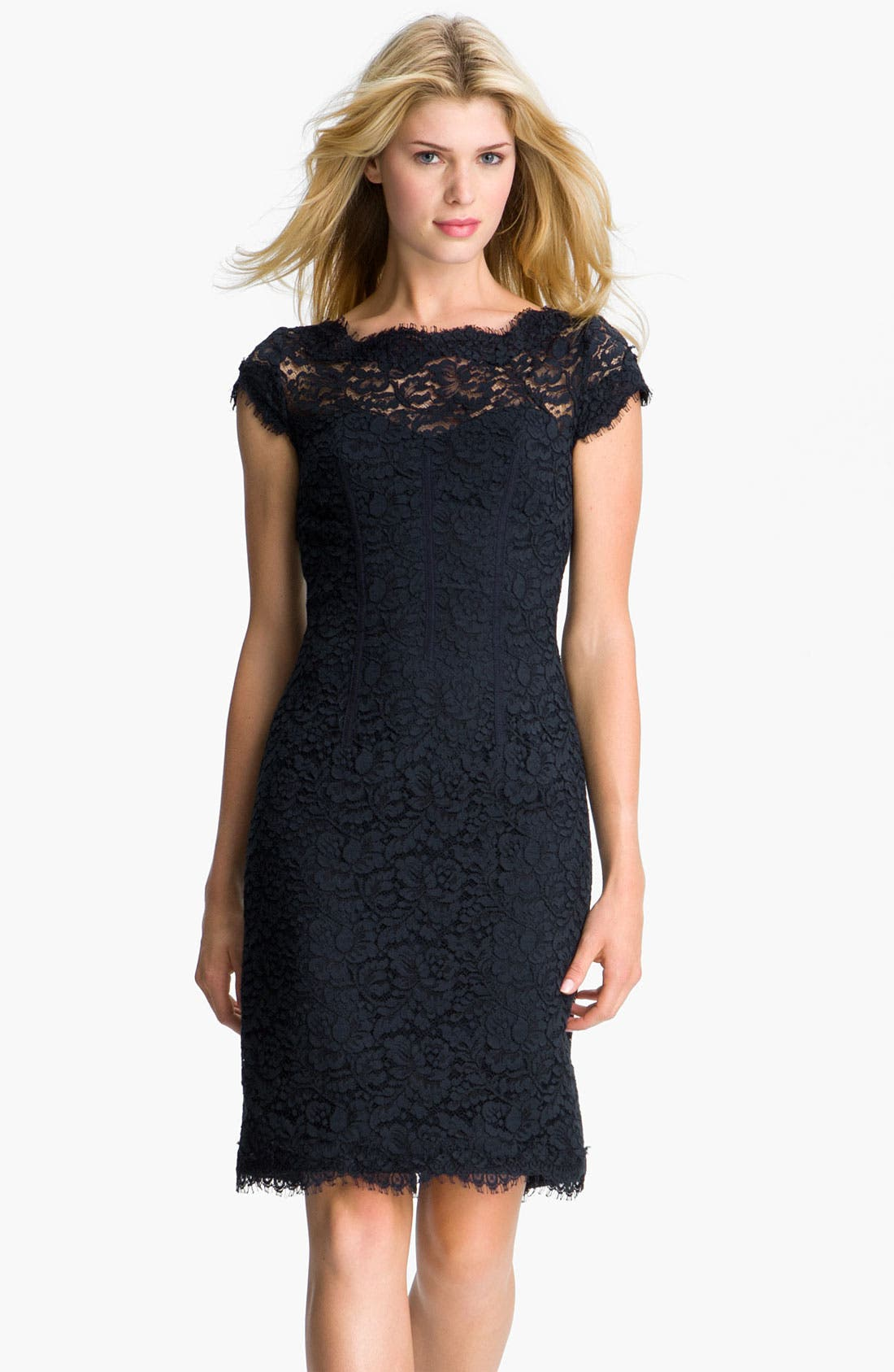 Main Image - ML Monique Lhuillier Lace Overlay Sheath Dress