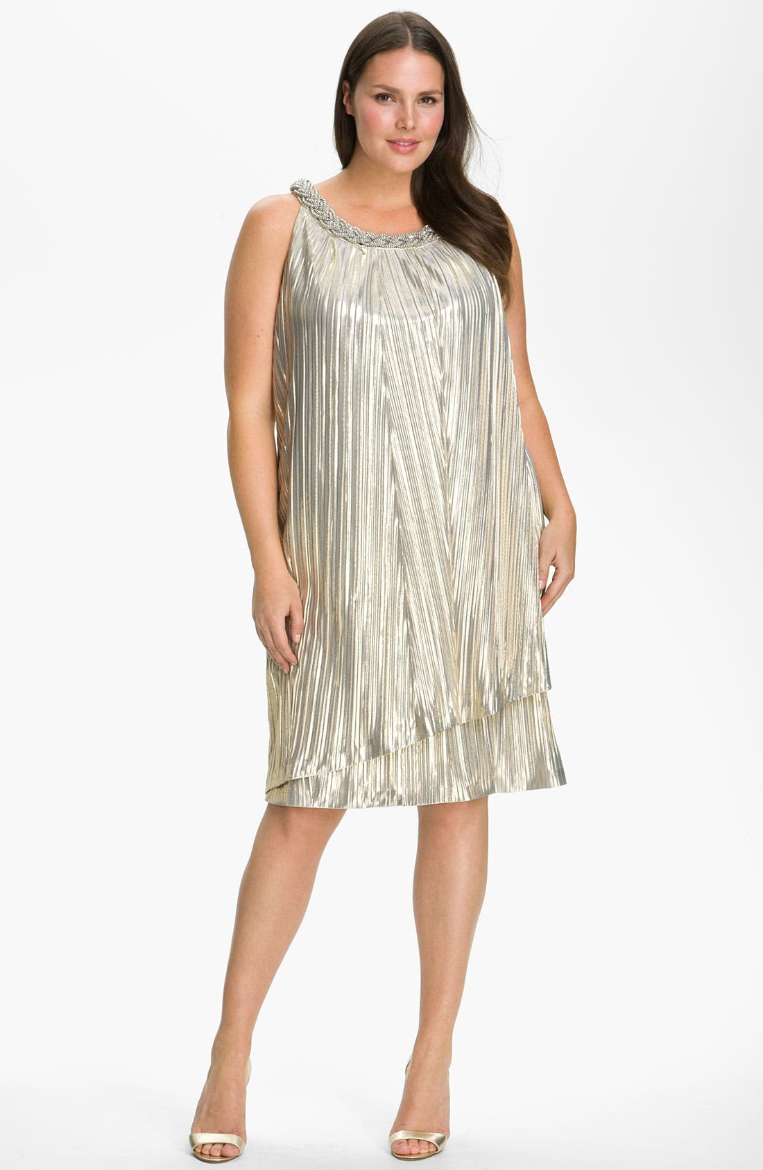 Main Image - Donna Ricco 'Shimmer & Shine' Dress (Plus)