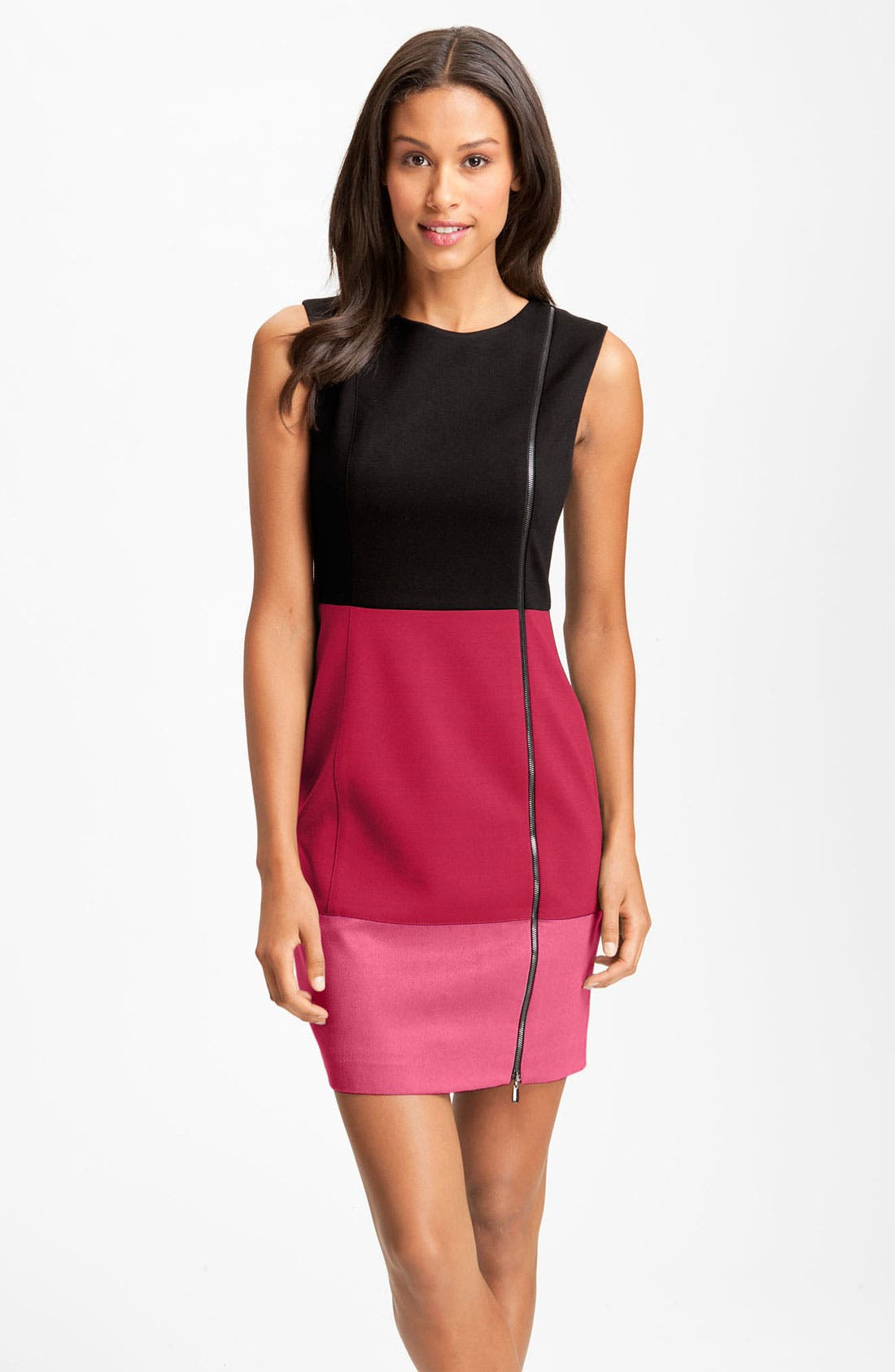 Alternate Image 1 Selected - Laundry by Shelli Segal Colorblock Exposed Zipper Sheath Dress