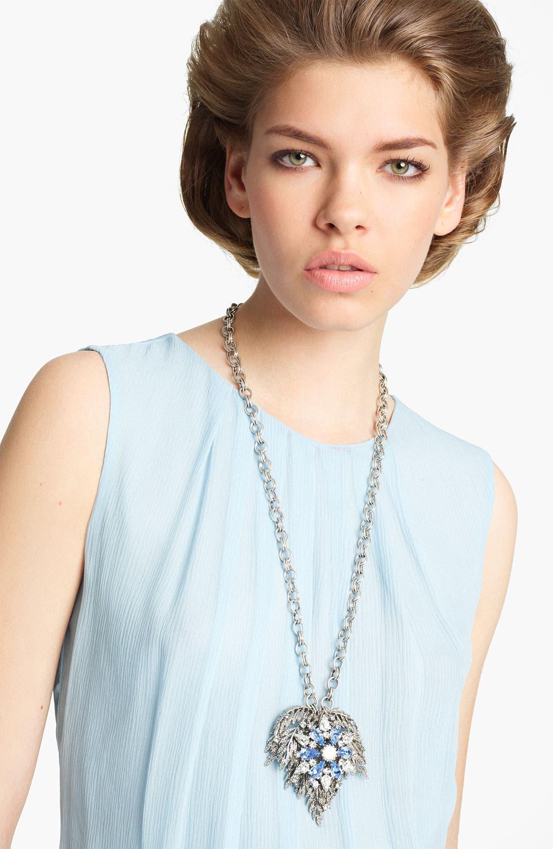 Alternate Image 2  - Oscar de la Renta Textured Leaf Brooch Necklace
