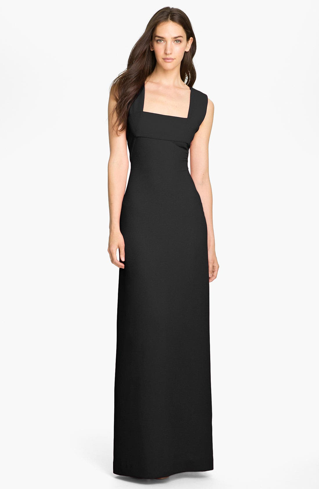 Alternate Image 1 Selected - BCBGMAXAZRIA V-Back Textured Chiffon Gown