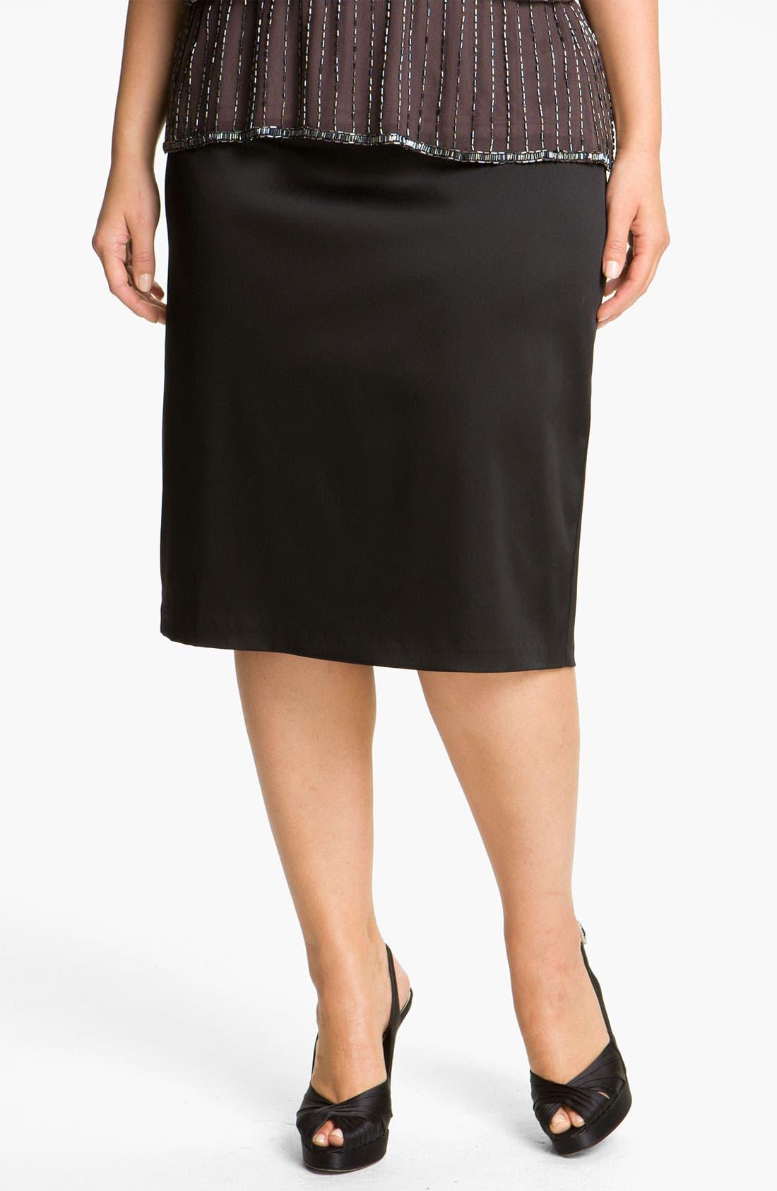 Alternate Image 1 Selected - Alex Evenings Satin Pencil Skirt (Plus)