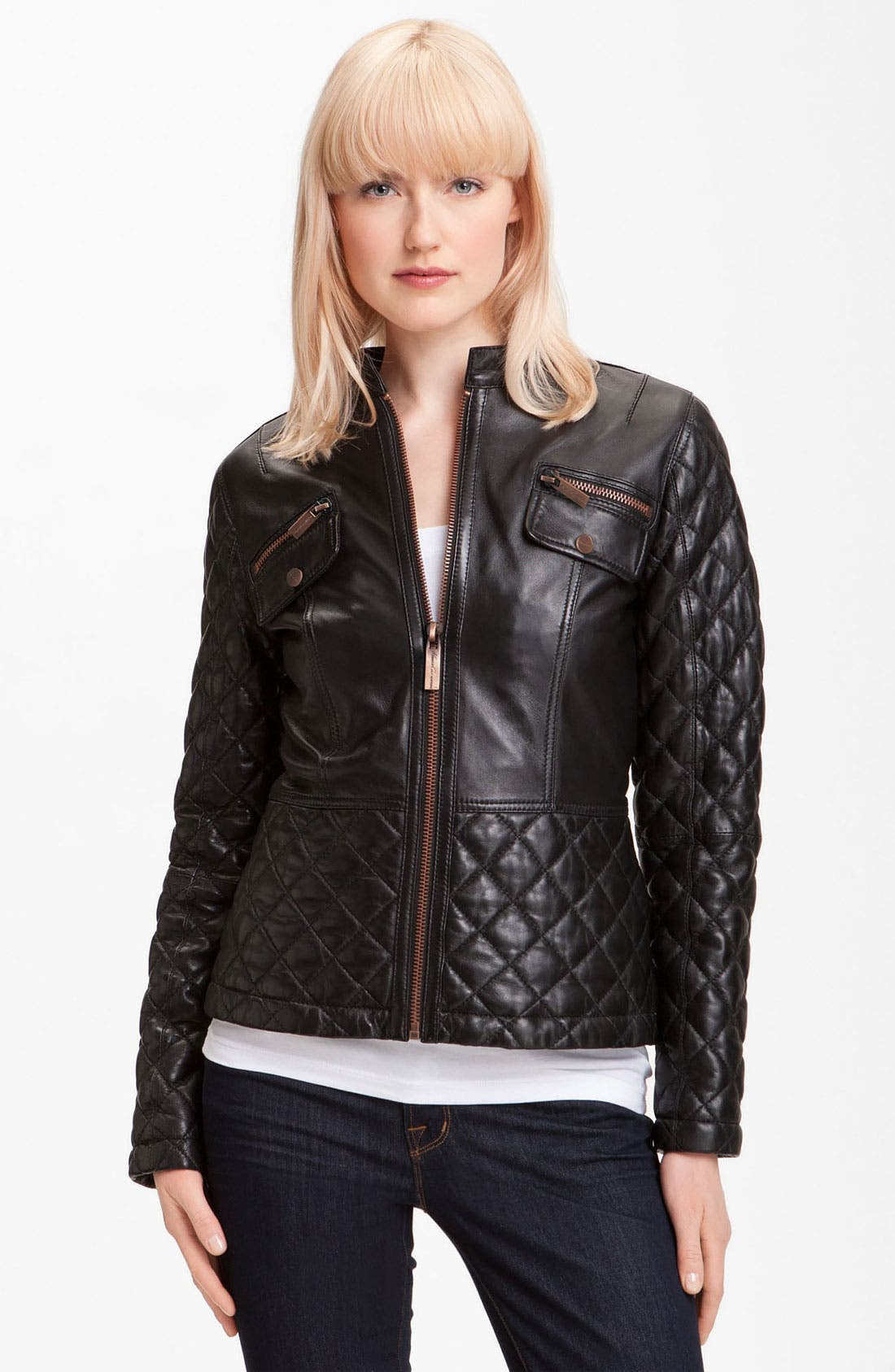 Alternate Image 1 Selected - Kenneth Cole New York Quilted Leather Scuba Jacket