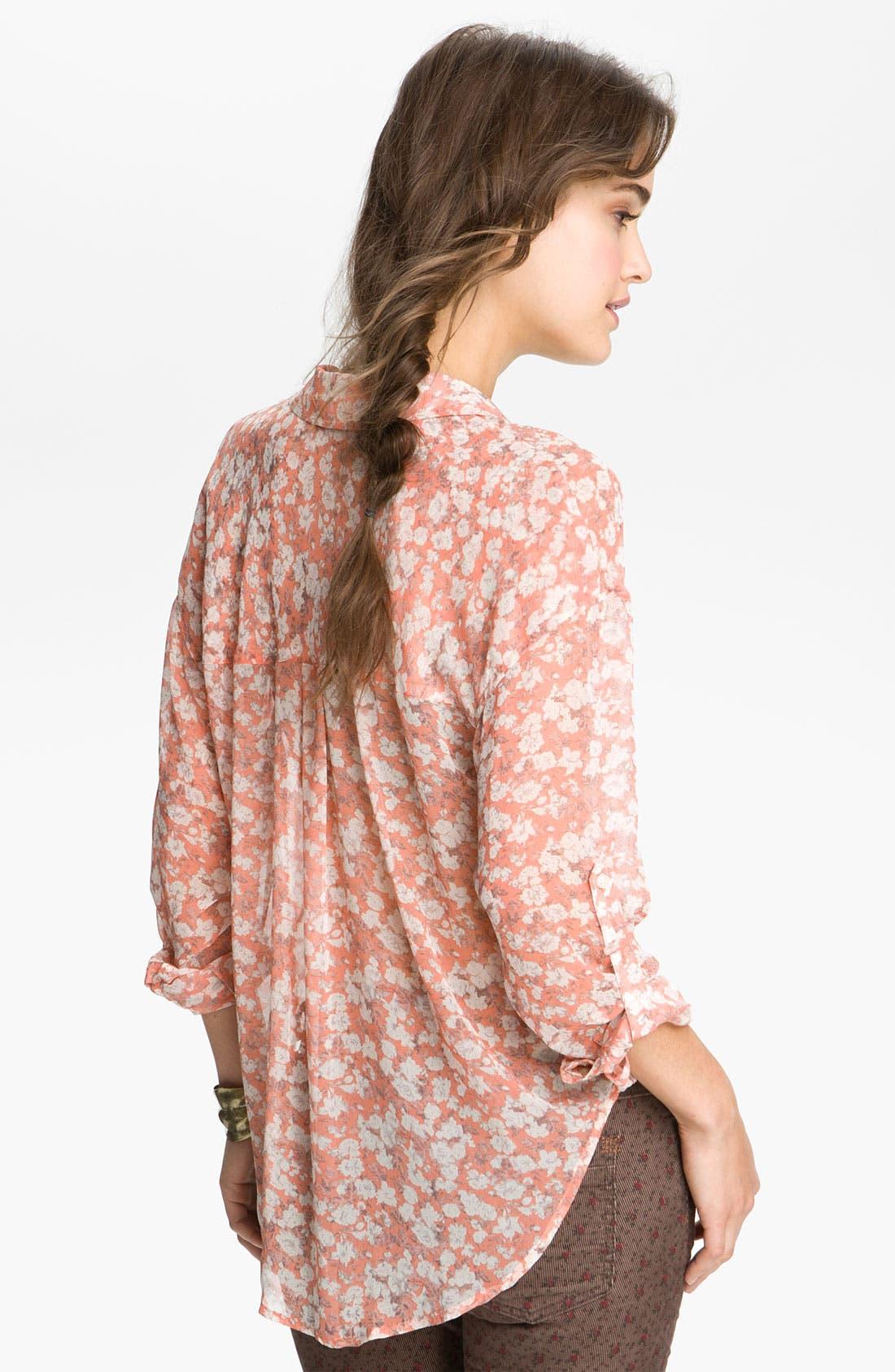 Alternate Image 2  - Free People Printed Georgette Shirt