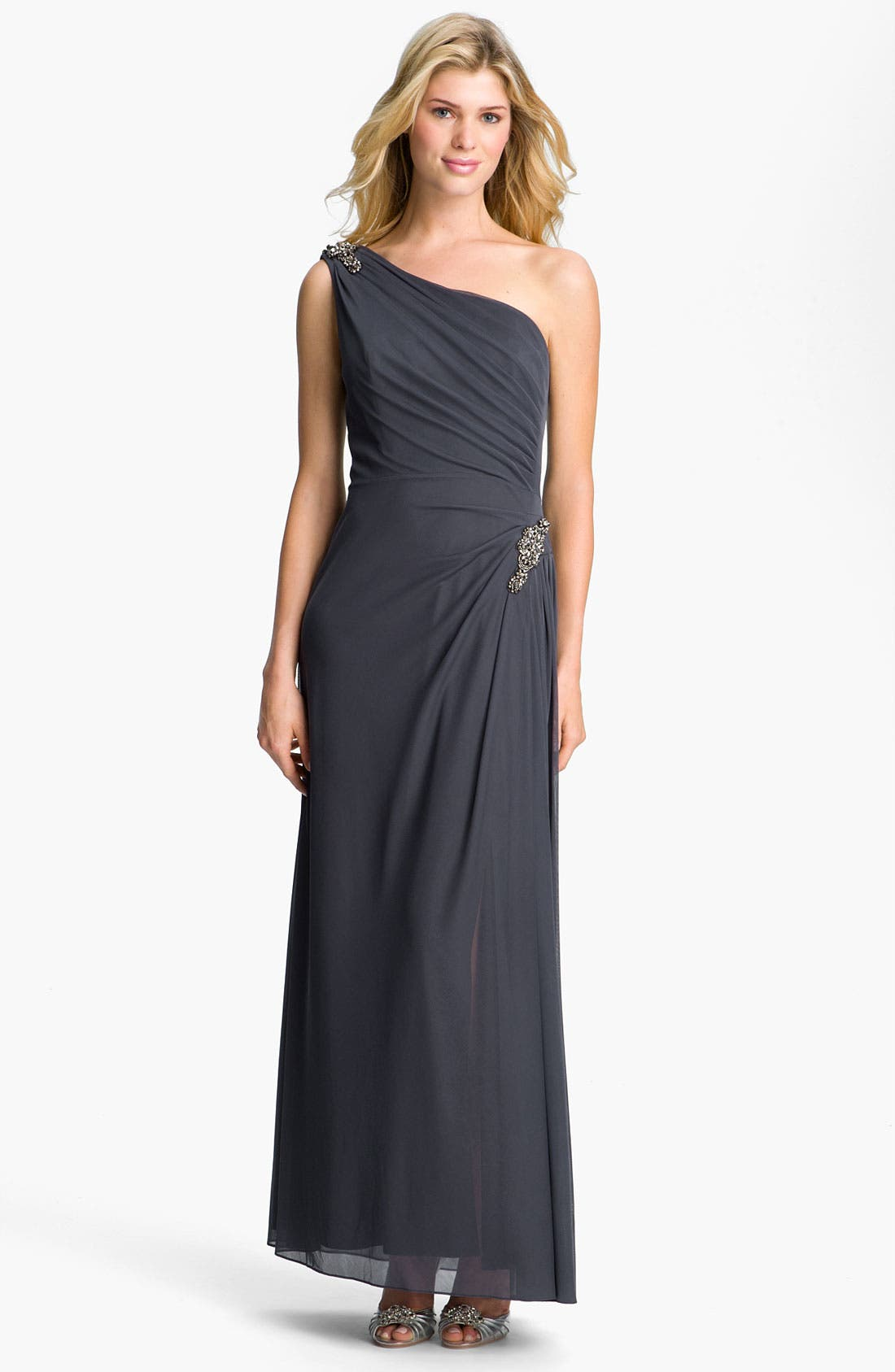 Main Image - Alex Evenings One Shoulder Ruched Mesh Gown