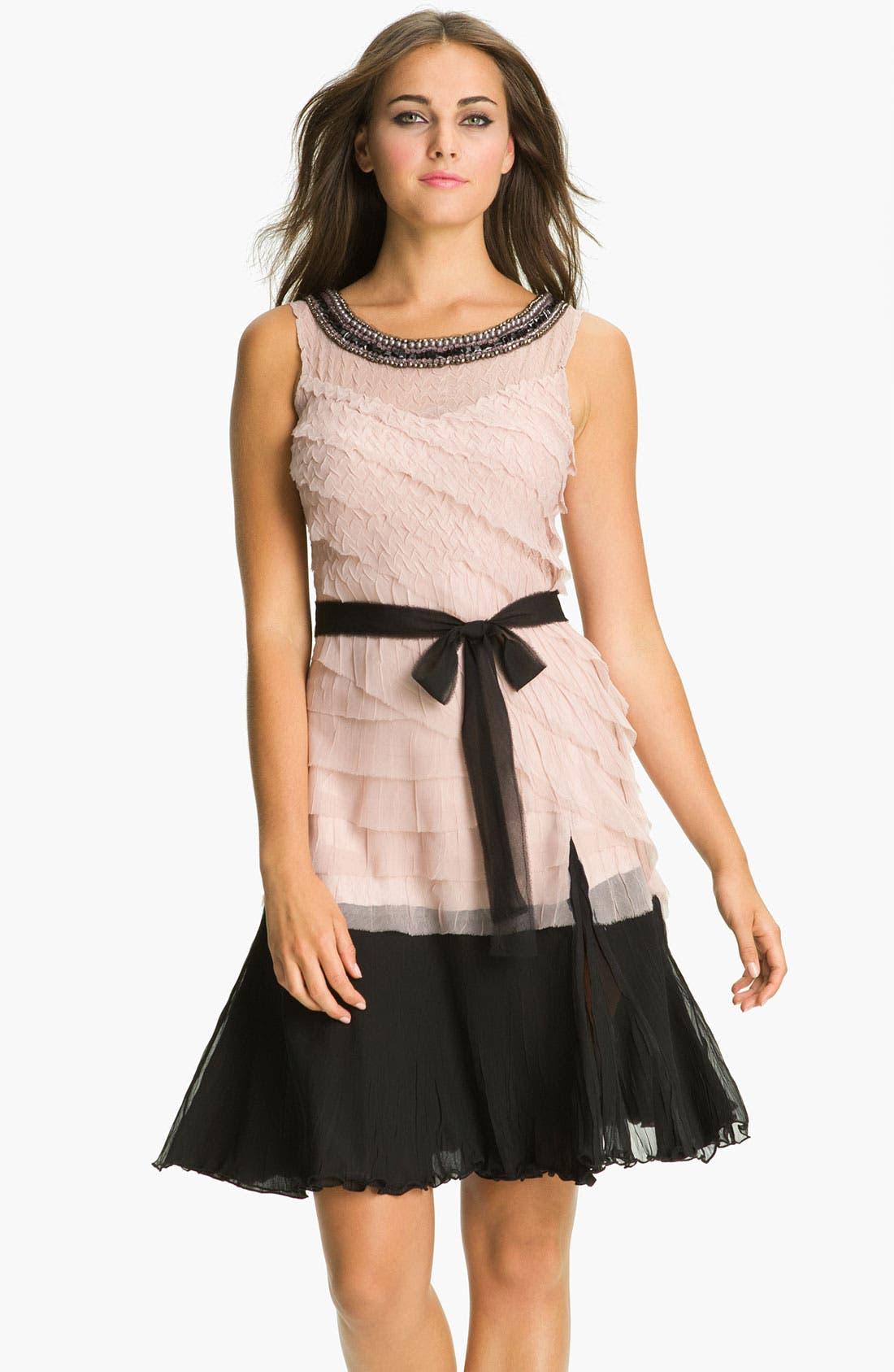 Alternate Image 1 Selected - Black by Komarov Embellished Collar Layered Chiffon Dress