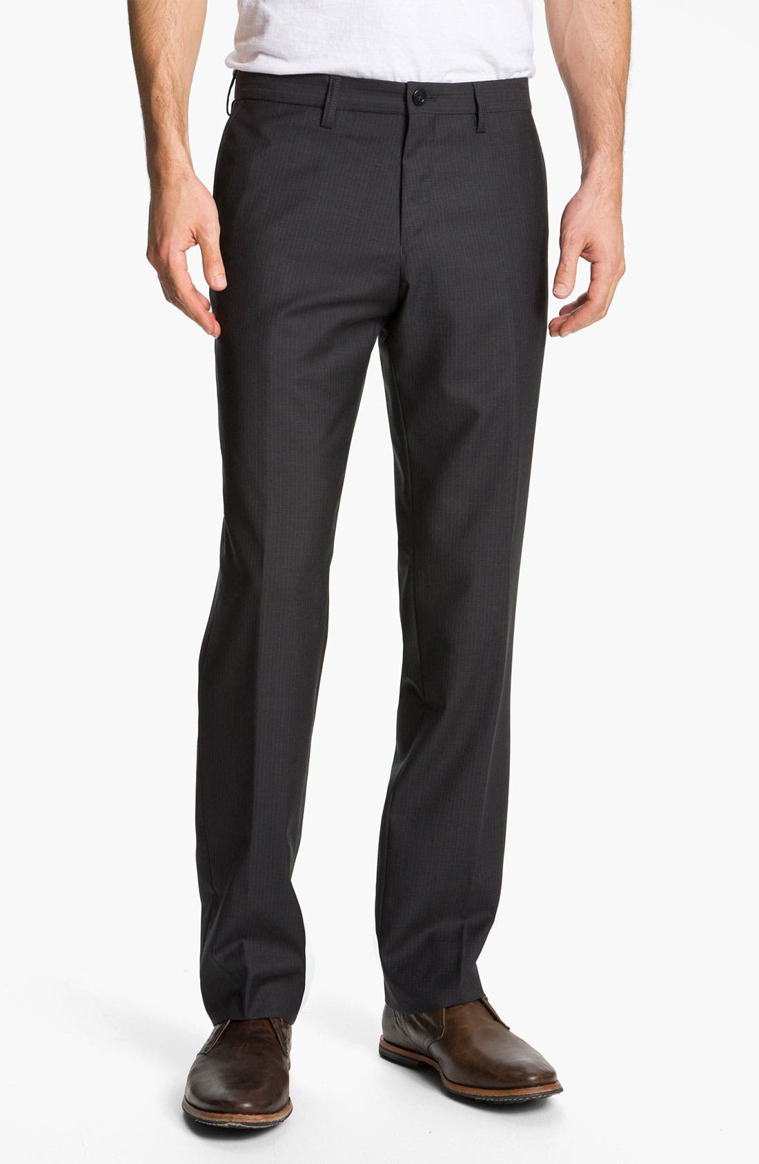 Main Image - BOSS Black 'Crigan' Flat Front Wool Trousers