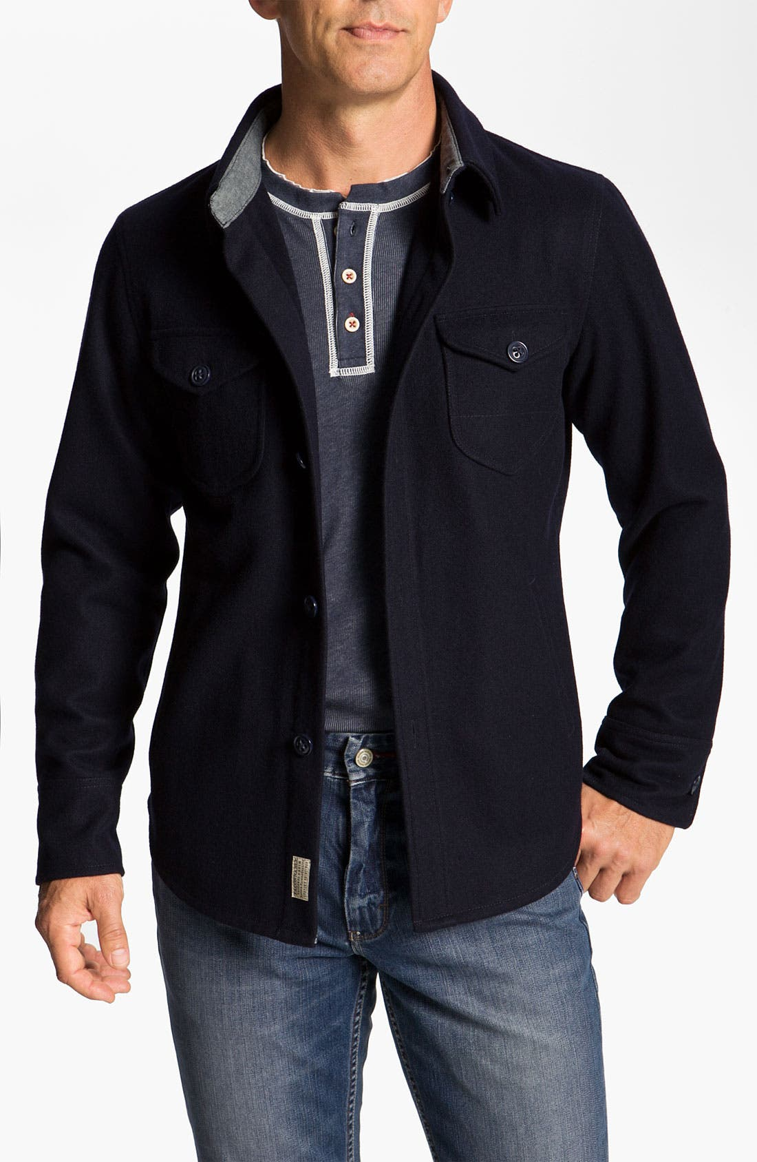 Alternate Image 1 Selected - Façonnable 'CPO' Wool Blend Shirt Jacket