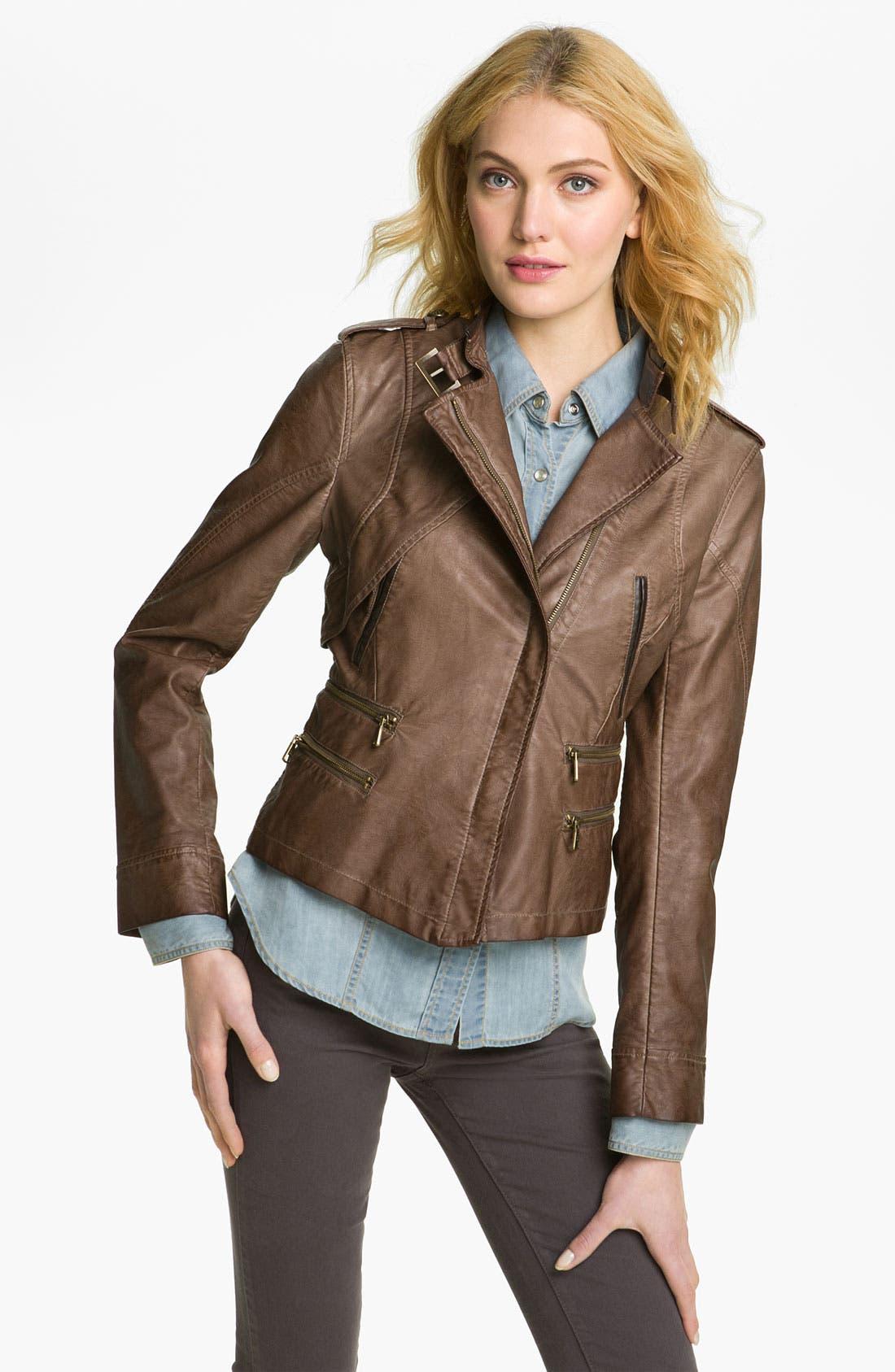 Alternate Image 2  - Steve Madden Asymmetrical Faux Leather Jacket