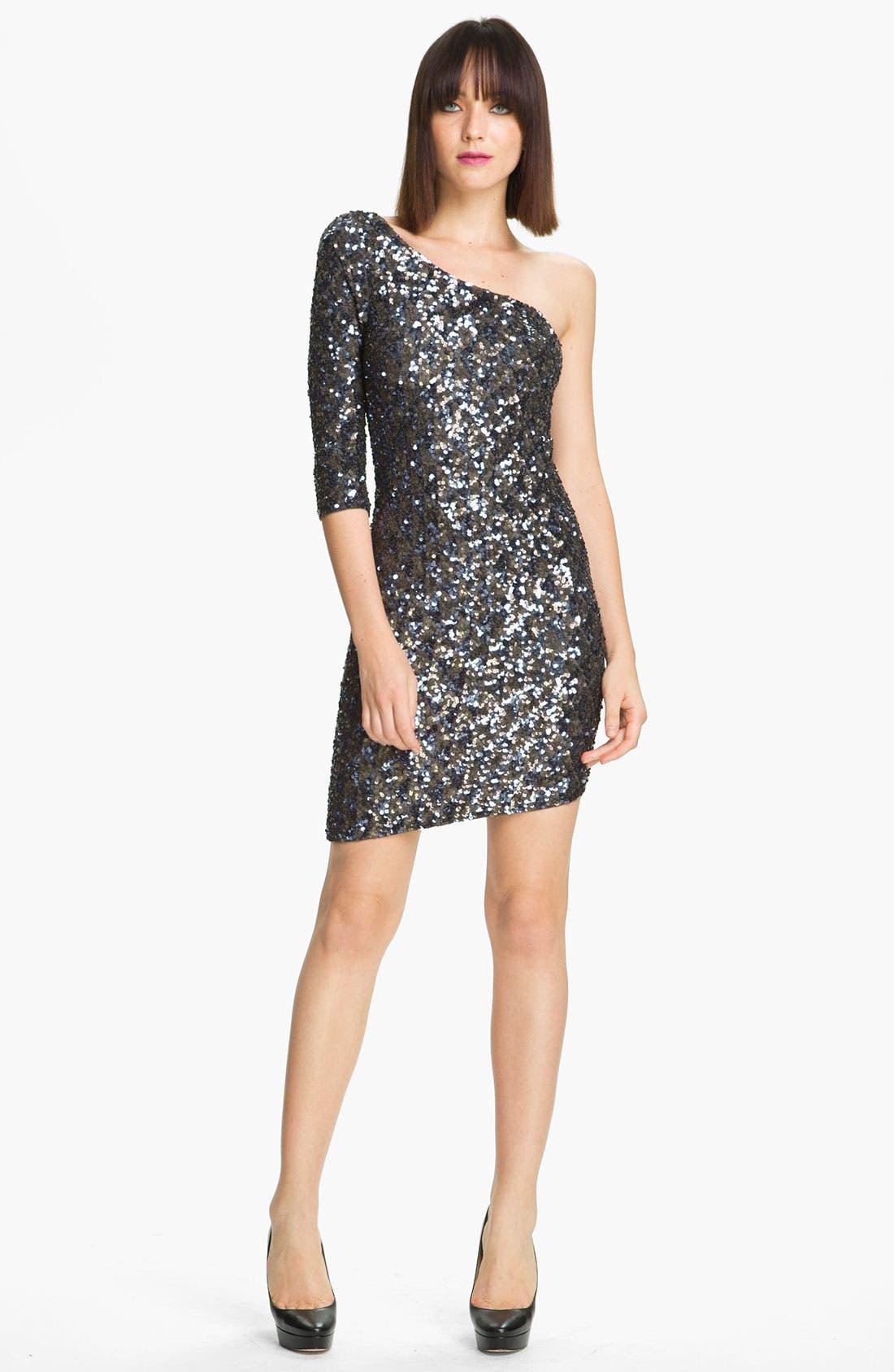 Main Image - Alice + Olivia 'Nicky' One Shoulder Sequin Dress