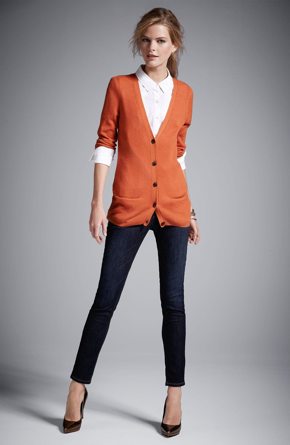 Alternate Image 2  - Halogen® Cardigan & Wit & Wisdom Denim Leggings
