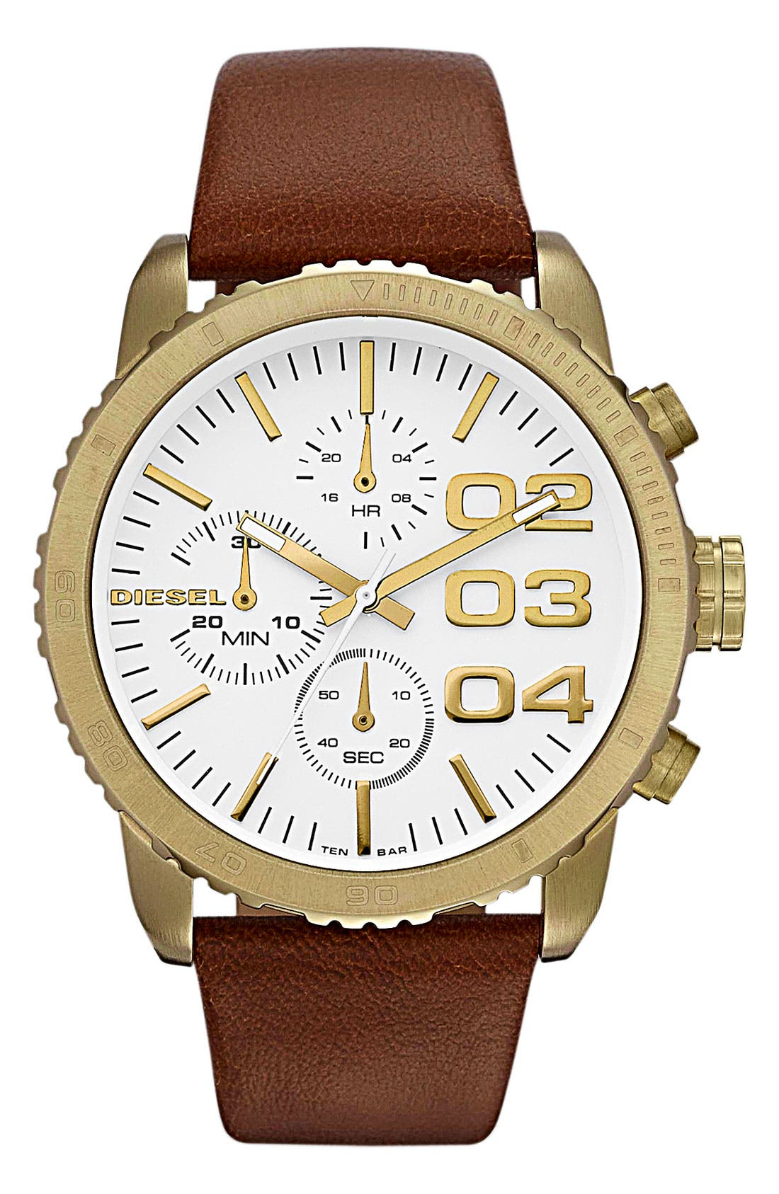 Alternate Image 1 Selected - DIESEL® 'Franchise' Chronograph Leather Strap Watch, 42mm