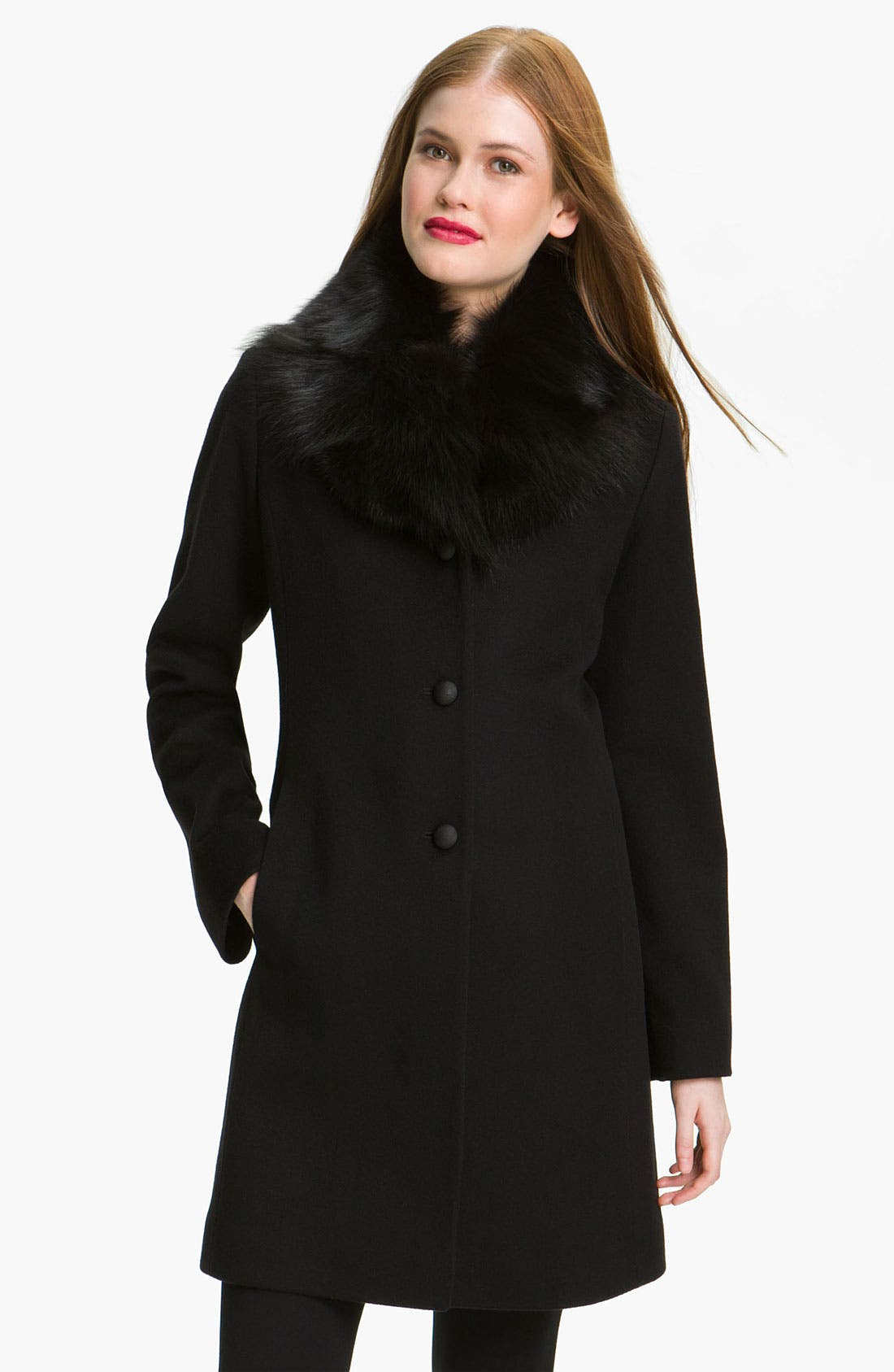 Alternate Image 1 Selected - Fleurette Loro Piana Wool Coat with Genuine Fox Fur (Online Exclusive)