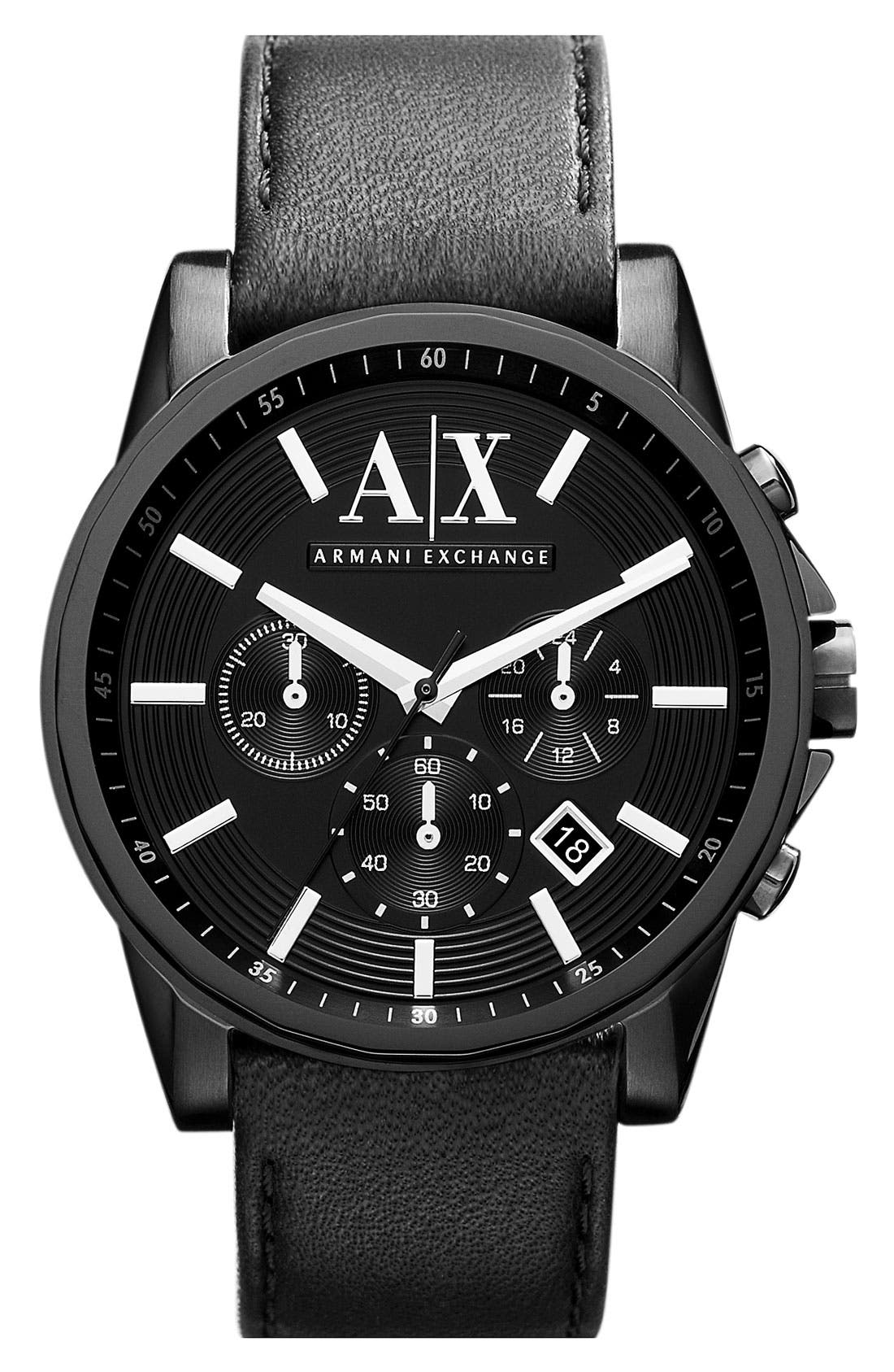 Main Image - AX Armani Exchange Chronograph Leather Strap Watch