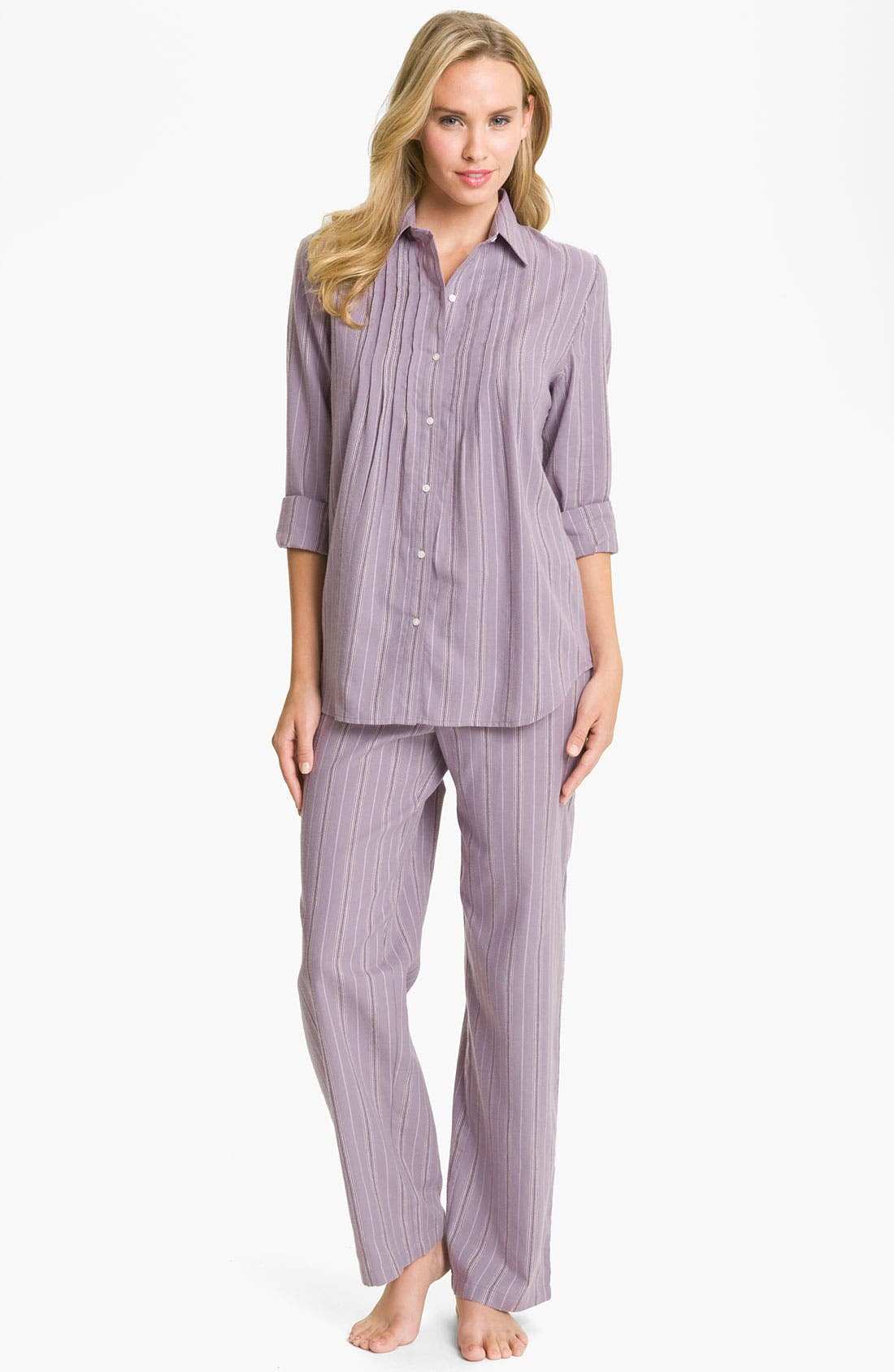 Main Image - Lauren Ralph Lauren Sleepwear Brushed Twill Pajamas