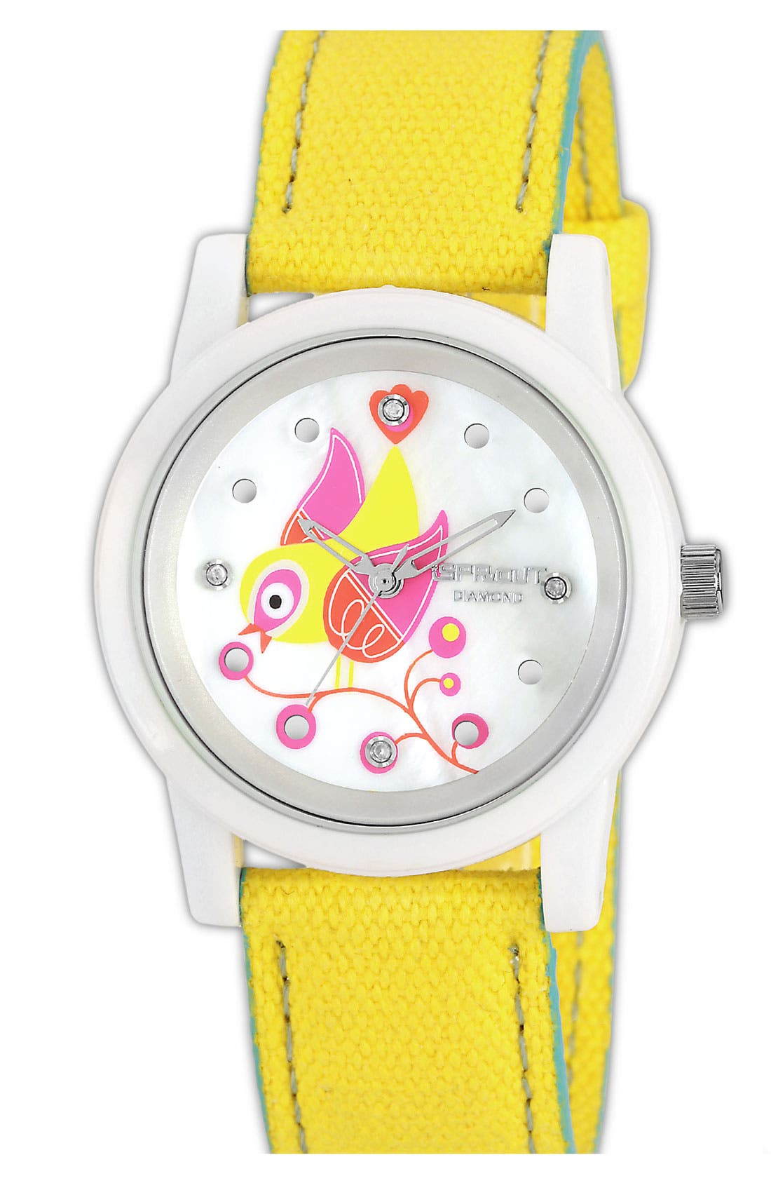 Main Image - SPROUT™ Watches Bird Dial Organic Cotton Strap Watch, 38mm