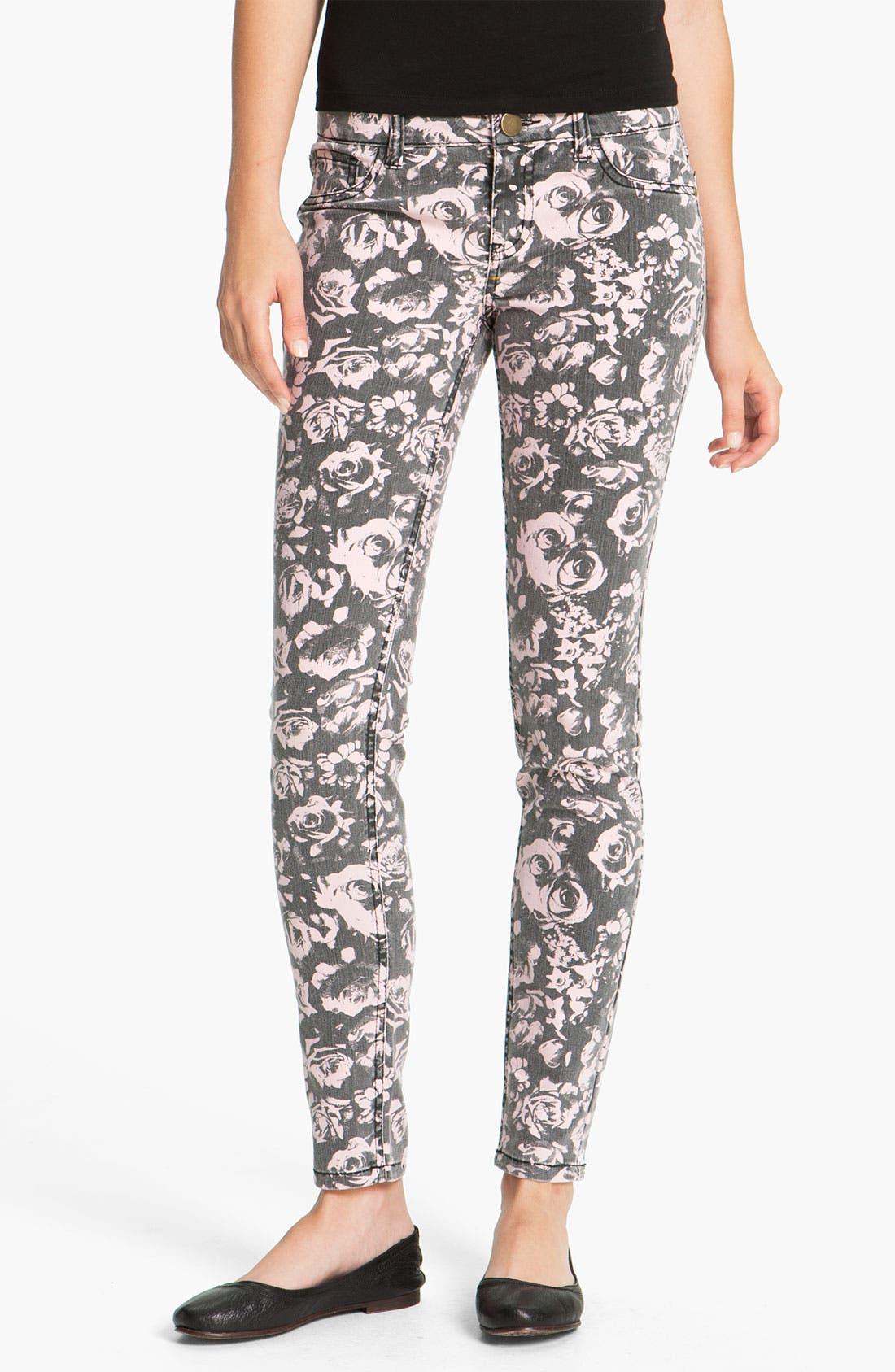 Alternate Image 2  - Fire Rose Print Skinny Jeans (Juniors)