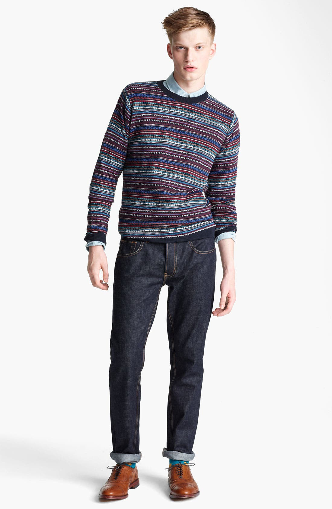 Alternate Image 4  - Topman Pattern Knit Crewneck Sweater