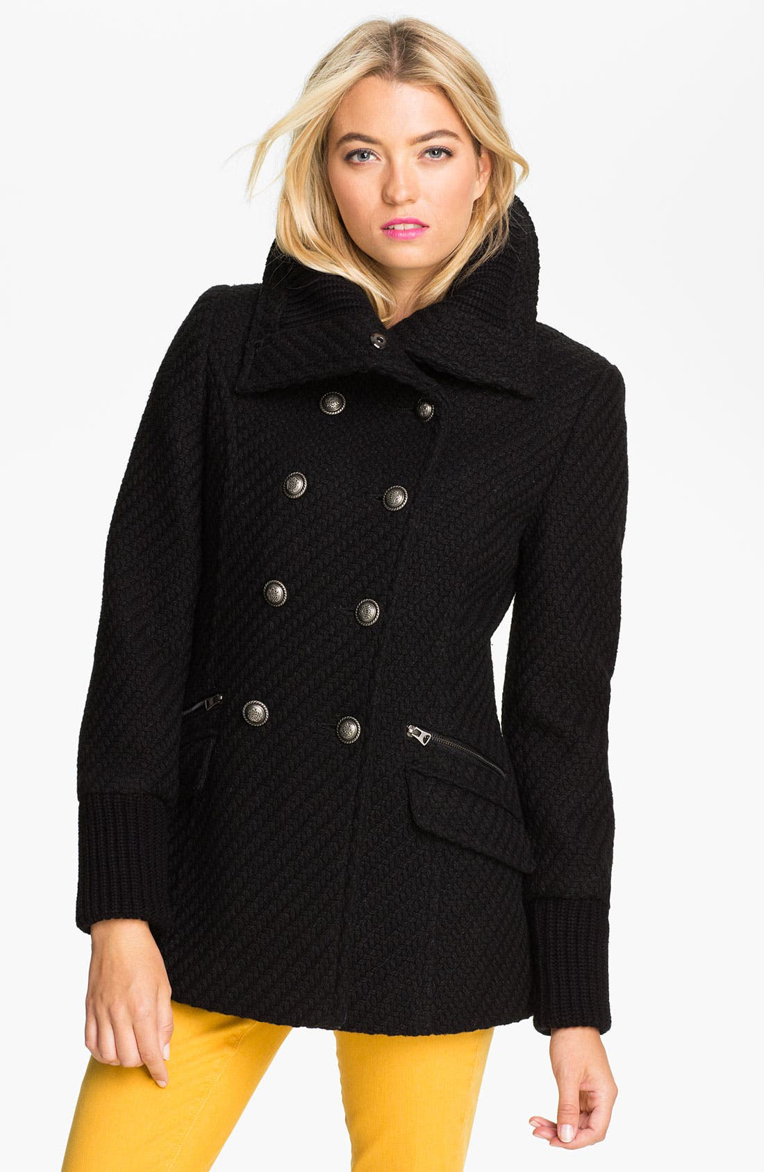 Alternate Image 1 Selected - Buffalo by David Bitton Double Breasted Textured Peacoat