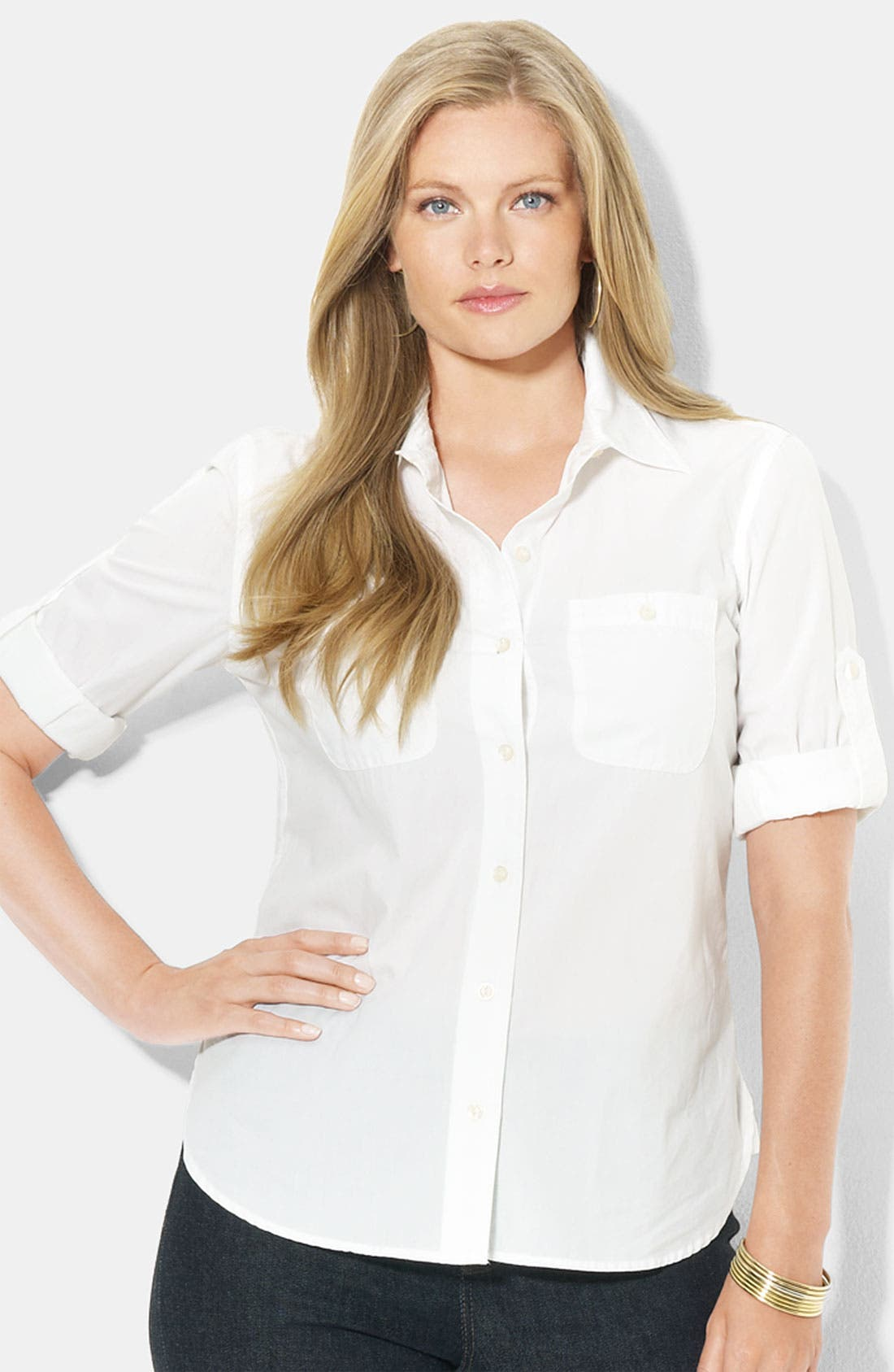 Alternate Image 1 Selected - Lauren Ralph Lauren Roll Sleeve Cotton Shirt (Plus)