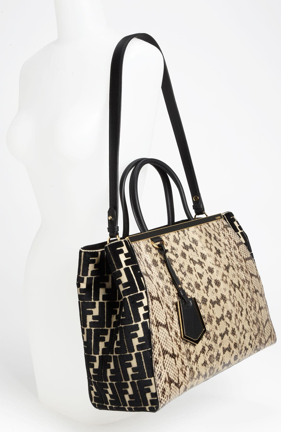 Alternate Image 2  - Fendi '2Jours' Genuine Snakeskin Shopper