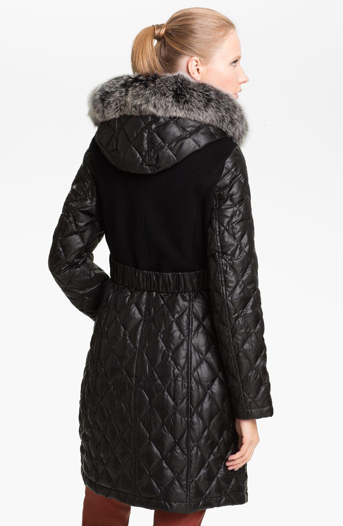 Alternate Image 2  - Sachi Mix Media Coat with Genuine Fox Fur Trim